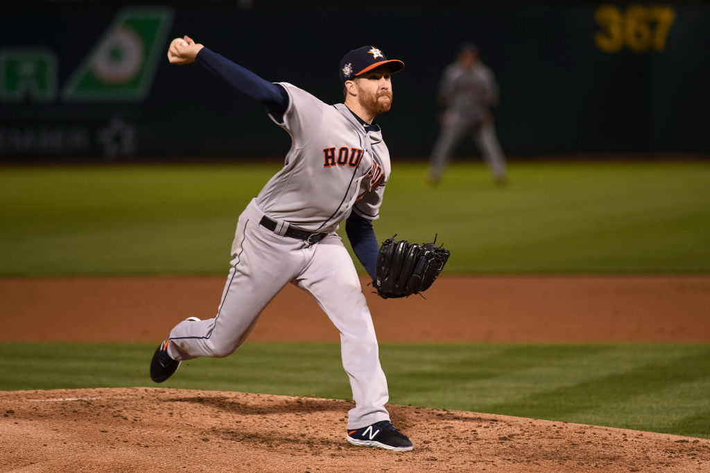 Houston Astros starting pitcher Collin McHugh delivers during the Major League Baseball game between the Houston Astros and the Oakland Athletics at Oakland-Alameda County Coliseum on April 16, 2019 in Oakland, Calif.