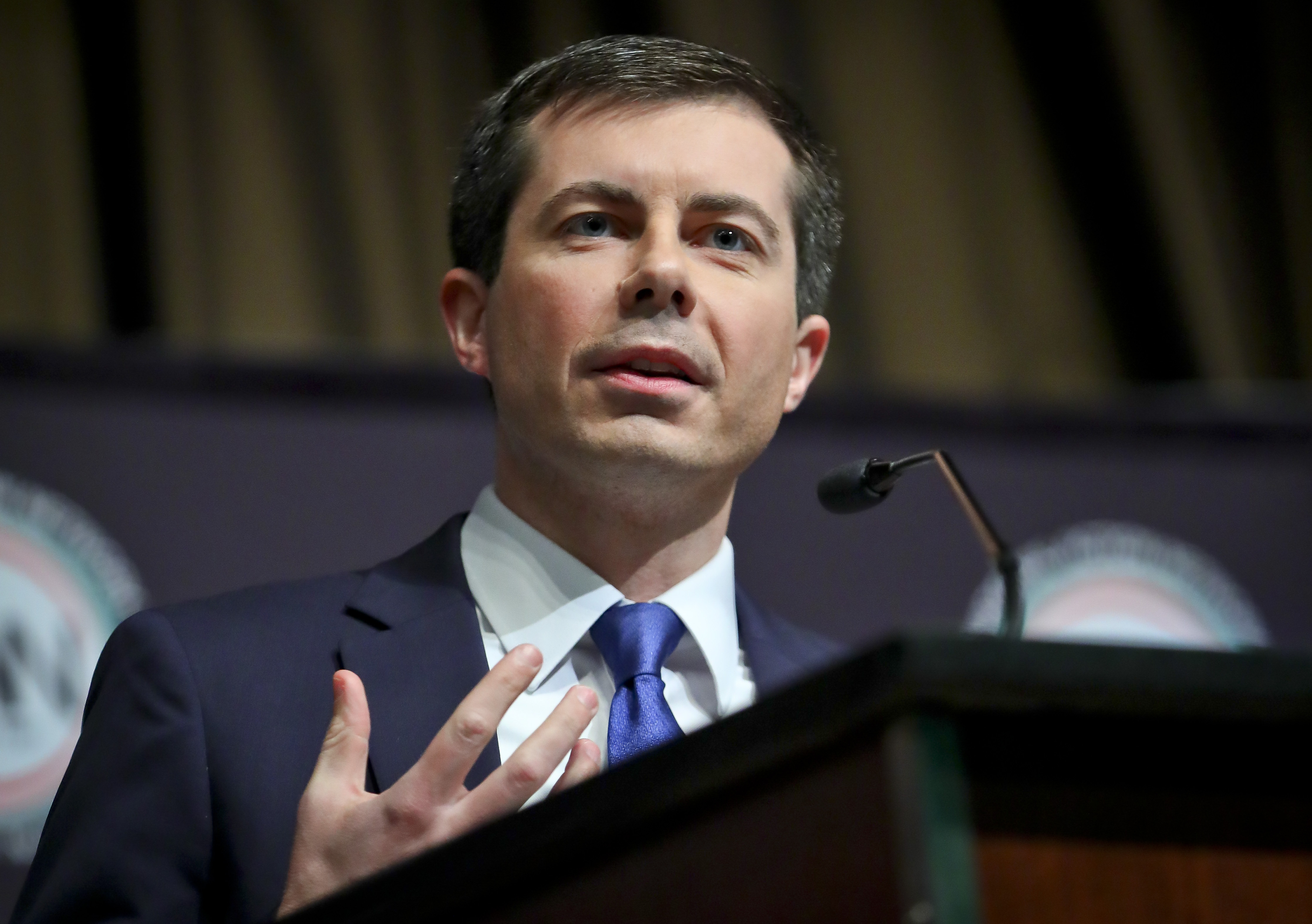 Democratic presidential candidate Pete Buttigieg, South Bend, Ind. mayor, addresses the National Action Network (NAN) convention, on April 4, 2019 in New York.