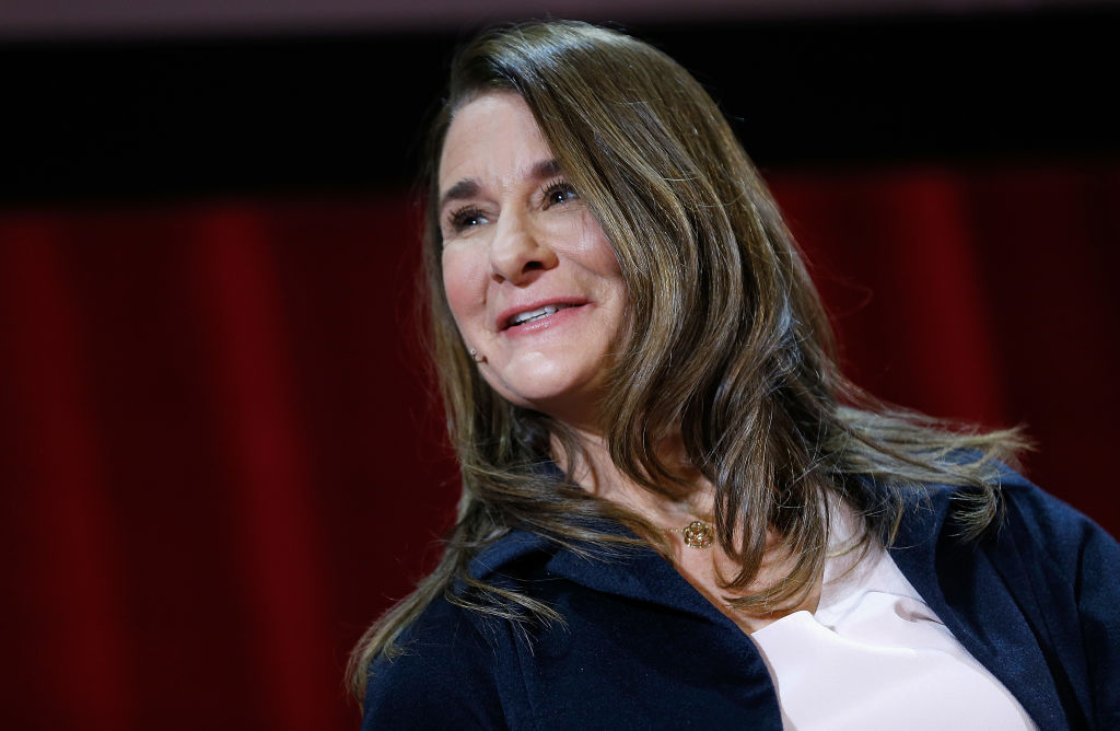 Melinda Gates speaks during the Lin-Manuel Miranda In conversation with Bill & Melinda Gates panel at Hunter College on February 13, 2018 in New York City.