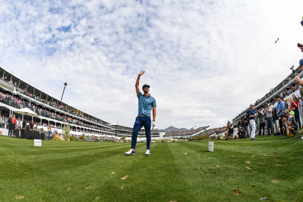 SCOTTSDALE, AZ - JANUARY 30: American Olympic swimmer Michael Phelps waves to the crowd on the sixteenth hole tee box during the Annexes Pro-Am prior to the Waste Management Phoenix Open at TPC Scottsdale on January 30, 2019 in Scottsdale, Arizona. (Photo by Ben Jared/PGA TOUR)