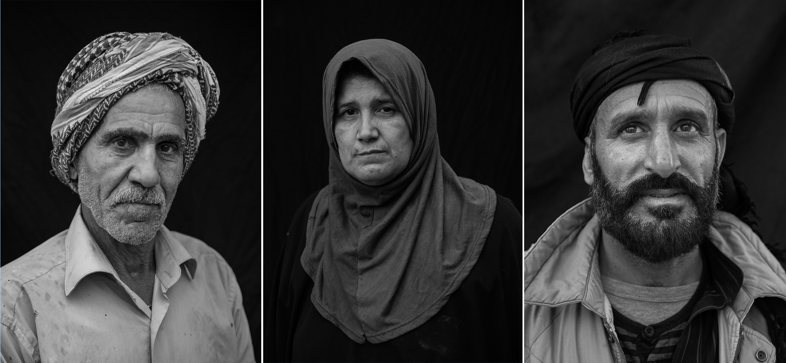 Left: Welder Hussein Ali Mohammed, 63. Four of his six children were killed in the battle against ISIS. Middle: Wafa Thanoon, 51, a religious teacher, who was injured by blasts on three different occasions. Right: Abdullah Hamud, 42, lives in an abandoned apartment with his family in Raqqa. Hamud fled to Raqqa six months ago to look for work after his home in Kasra was destroyed by an airstrike.
