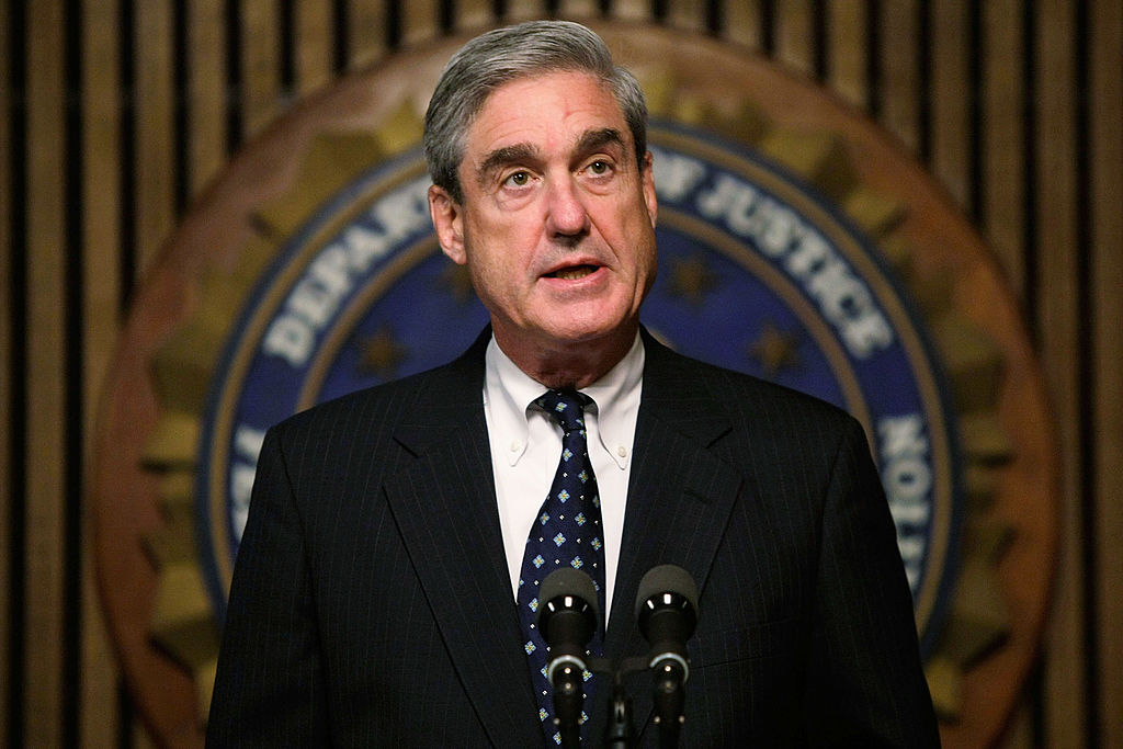 In this file photo, Robert Mueller speaks during a news conference at the FBI headquarters June 25, 2008 in Washington, D.C.