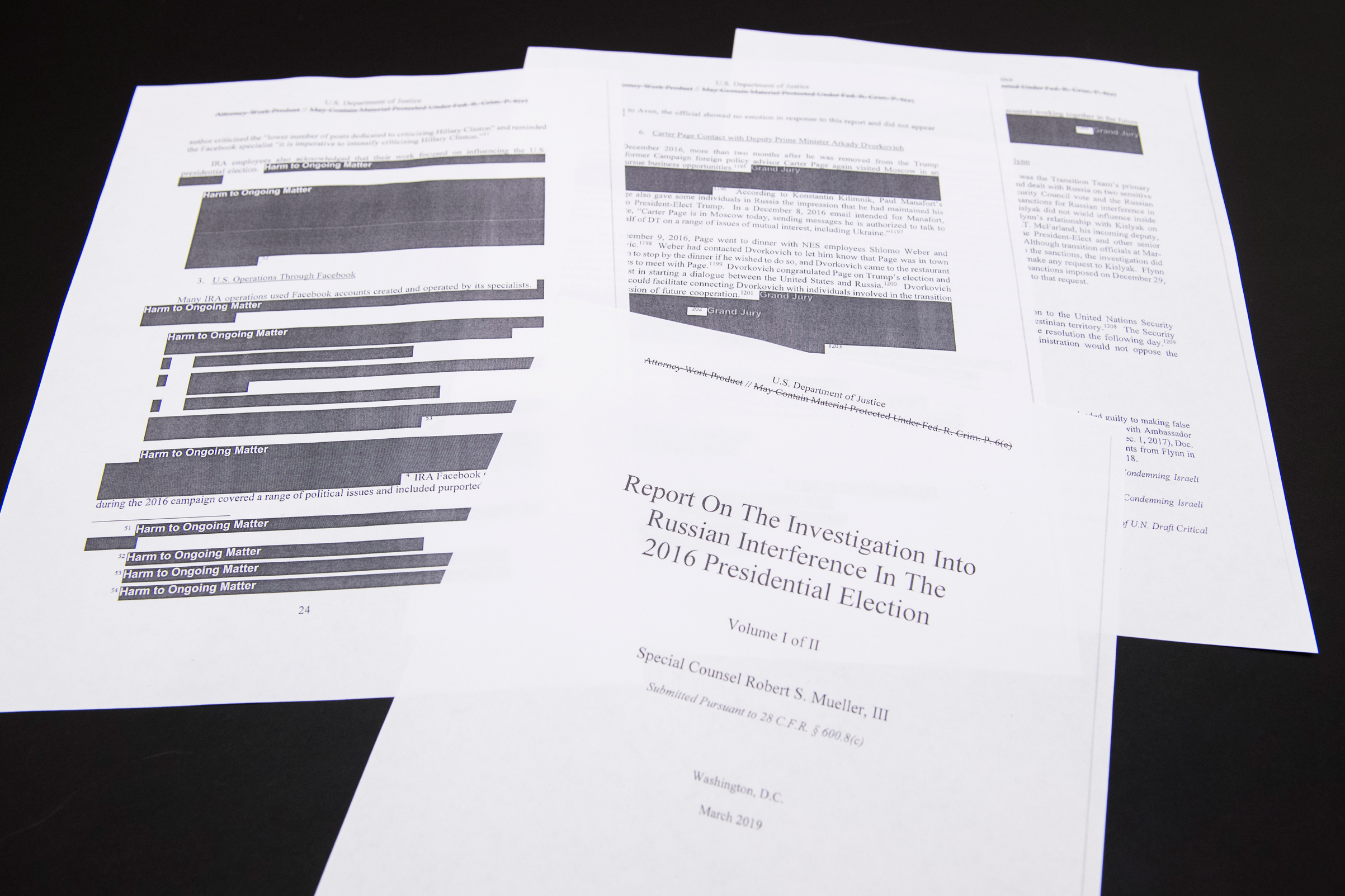 A few pages of Special Counsel Robert Mueller's report on Russian interference in the 2016 election that were printed out by staff in the House Judiciary Committee's hearing room on April 18, 2019.