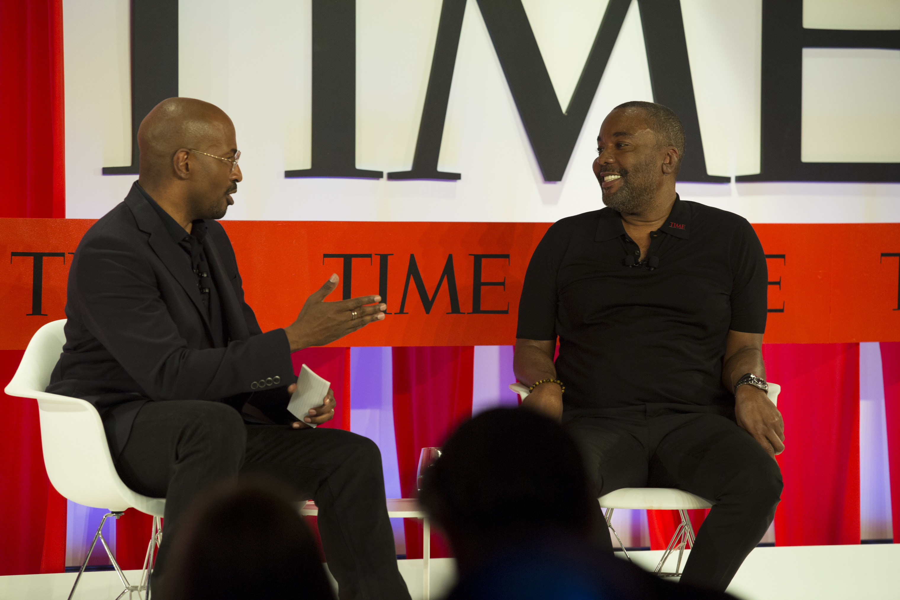 Writer, producer and director Lee Daniels talks to CNN political commentator Van Jones about leading by disruption at the TIME 100 Summit  in New York on April 23, 2019.