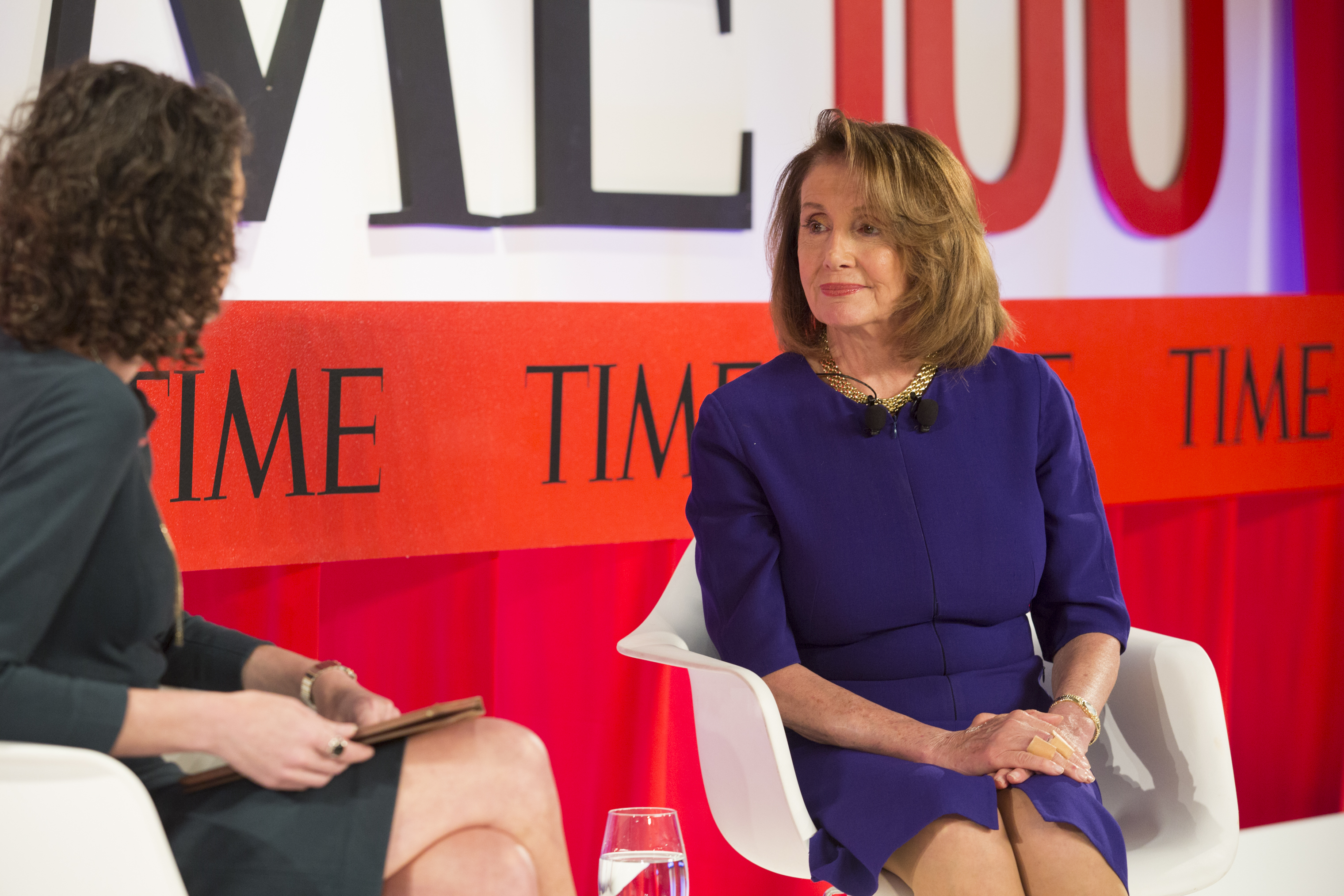 Molly Ball, National Political Correspondent for TIME, interviews Nancy Pelosi at the TIME100 Summit in New York on April 23, 2019.