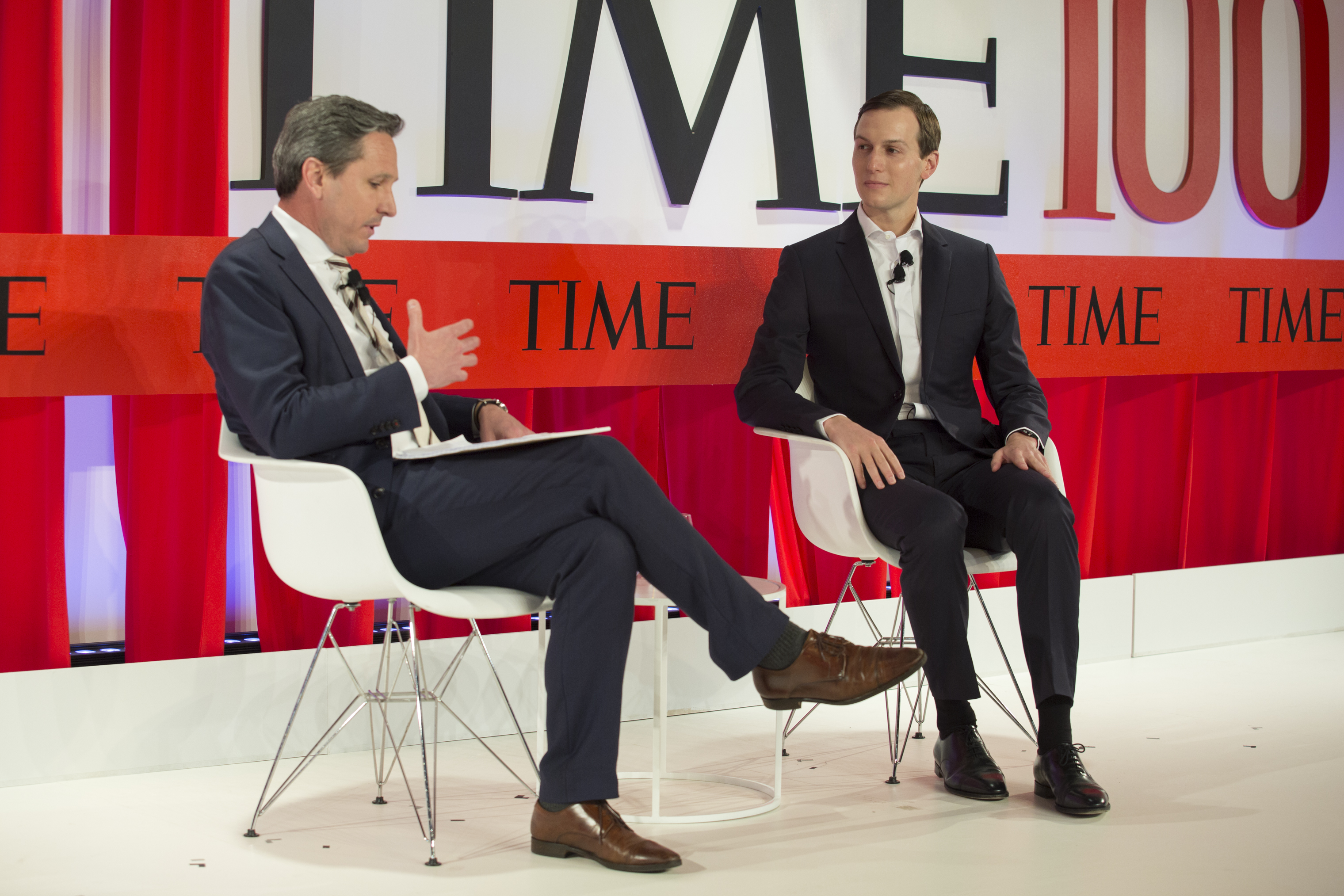 Assistant and Senior Adviser to the President Jared Kushner speaks to Brian Bennett, Senior White House Correspondent for TIME during an interview at the TIME100 Summit in New York, on April 23, 2019.