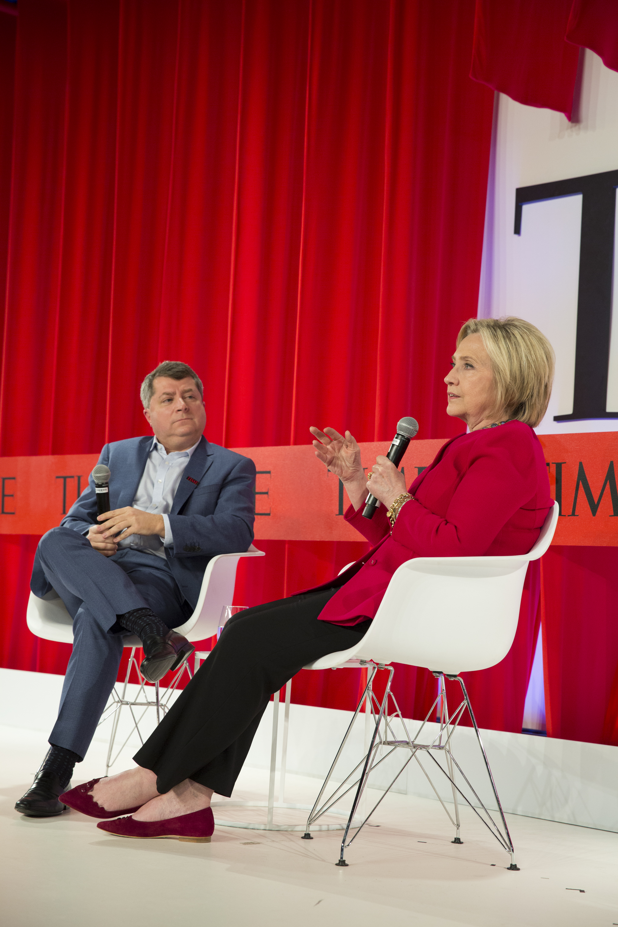 Former U.S. Secretary of State Hillary Clinton talks to Editor-in-Chief and CEO of TIME Edward Felsenthal about creating a better future  at the TIME 100 Summit in New York, on April 23, 2019.