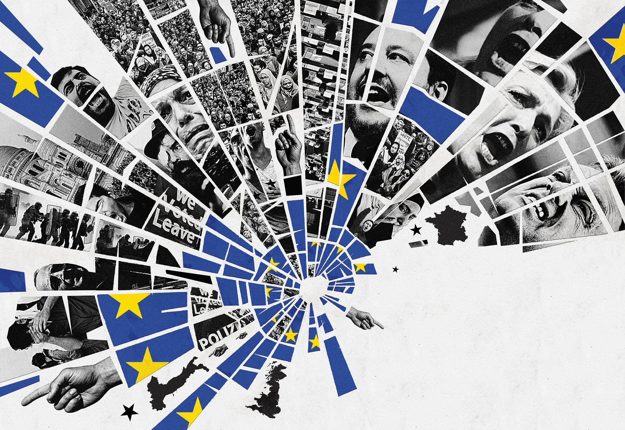 EU Waving Hand Flag 12 Pack Decoration Euro Blue Stars European Union