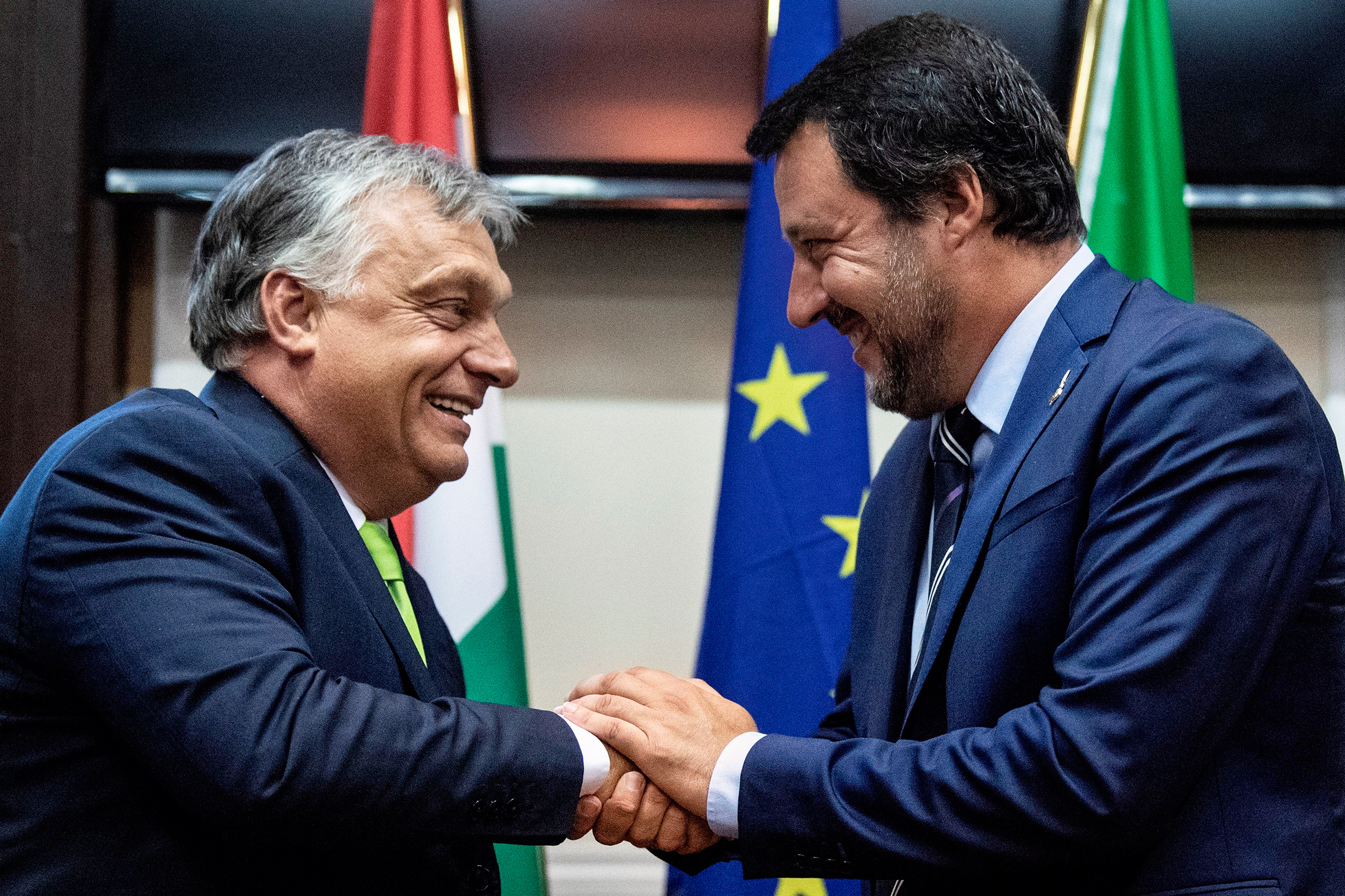 Italy's Salvini, right, greets Hungary's Orban in Milan