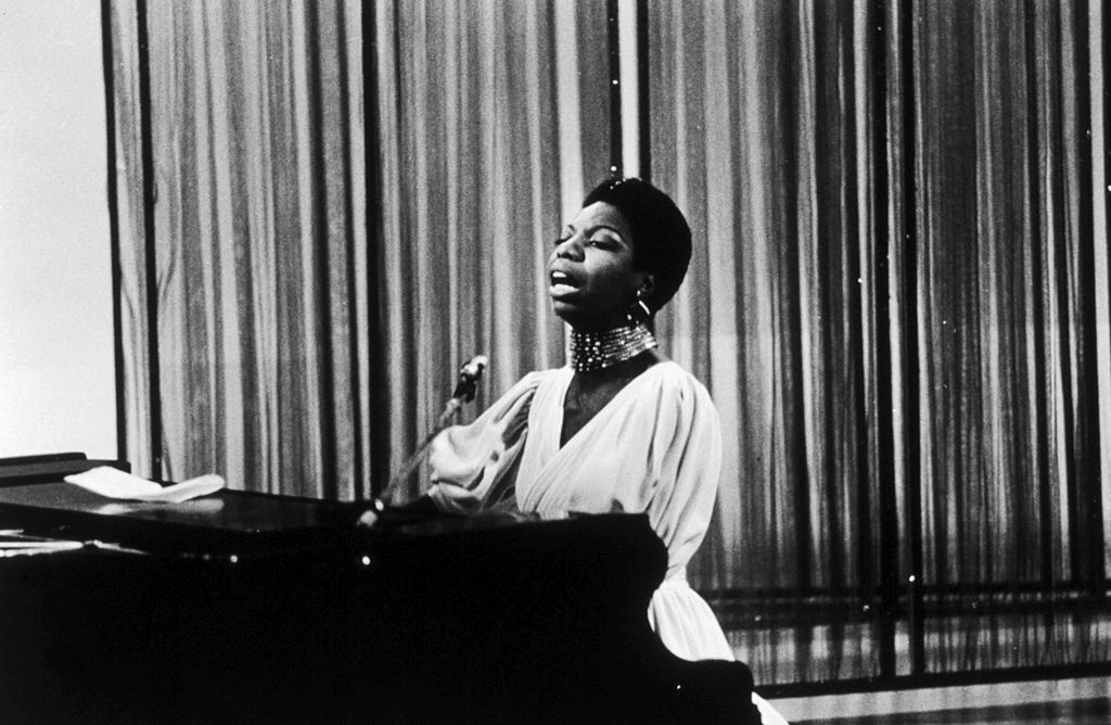 Nina Simone appearing on the David Frost TV show, London, 1968.