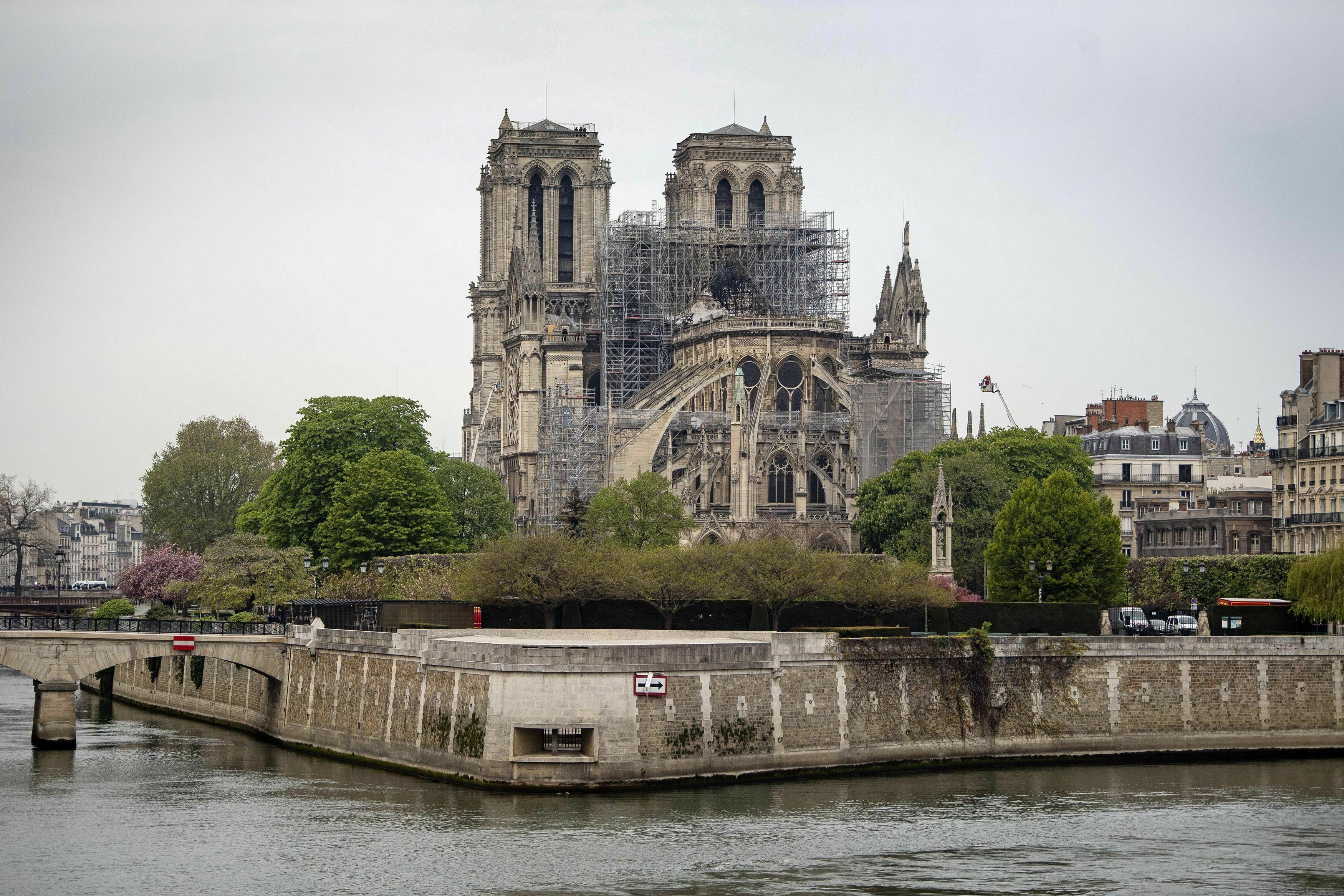 The Notre Dame Cathedral in Paris following a fire which destroyed much of the building on April 16, 2019.