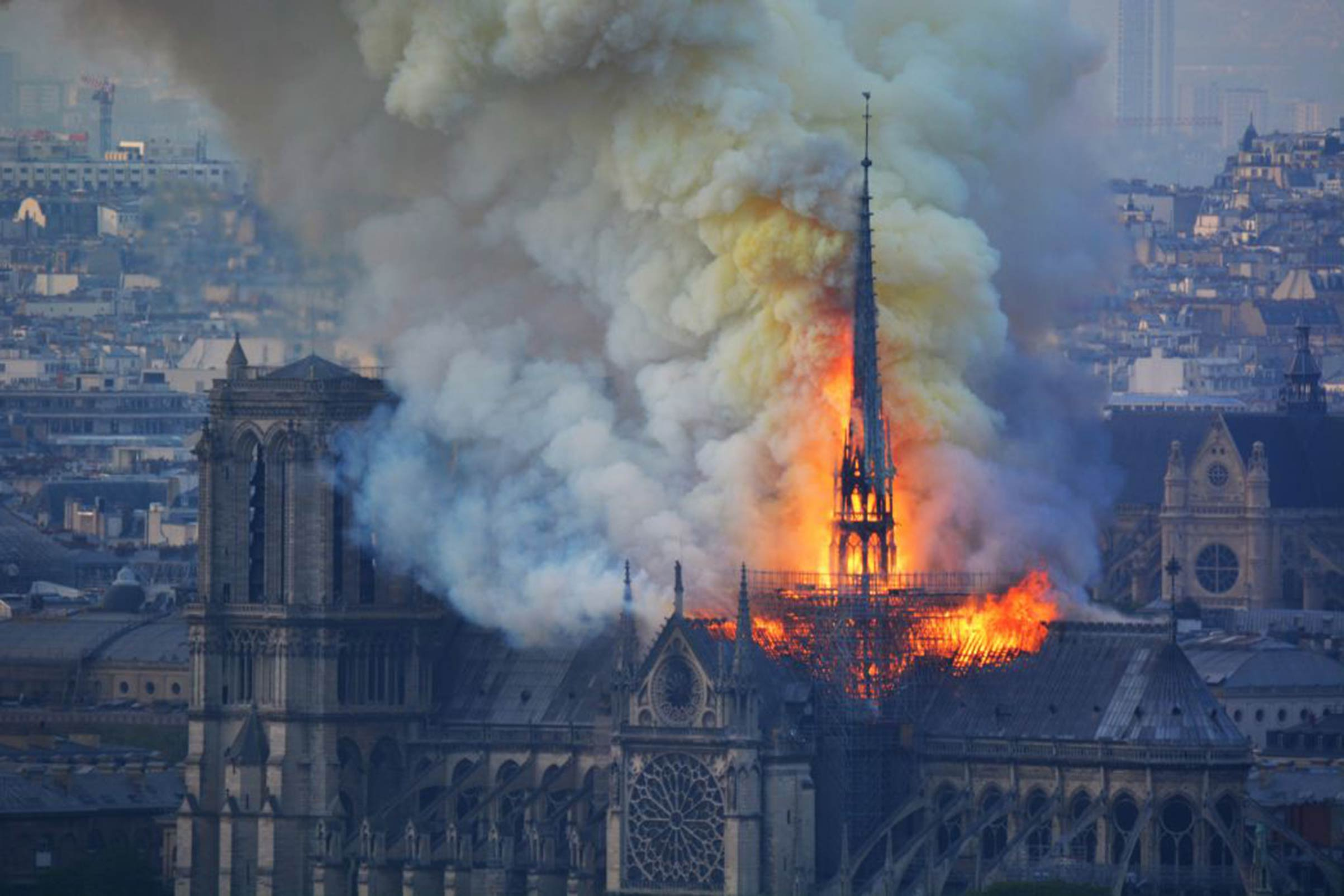 A fire broke out at the landmark Notre-Dame Cathedral in central Paris on April 15, 2019.