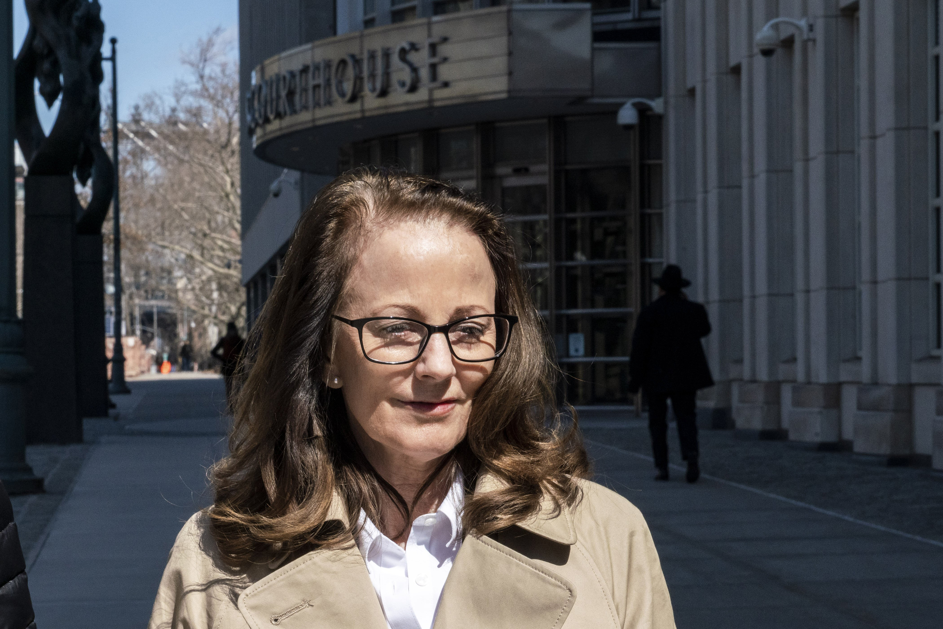 Kathy Russell leaves the Federal Courthouse in Brooklyn on March 18, 2019.