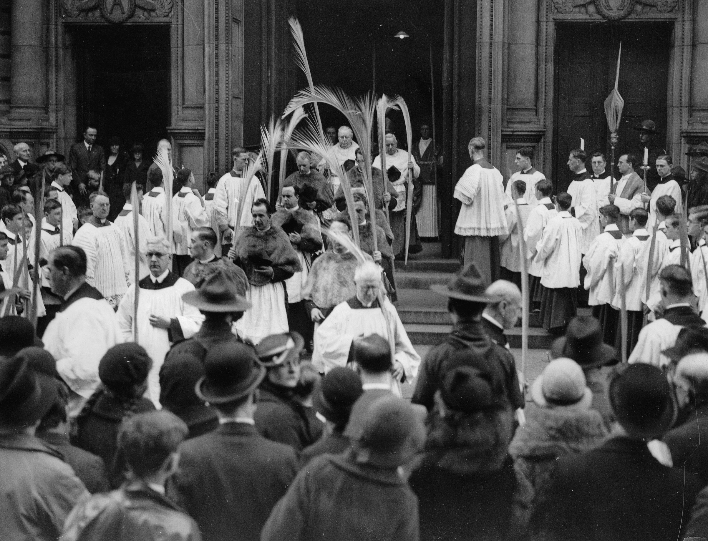 Procession on Palm Sunday in England, ca. 1930.