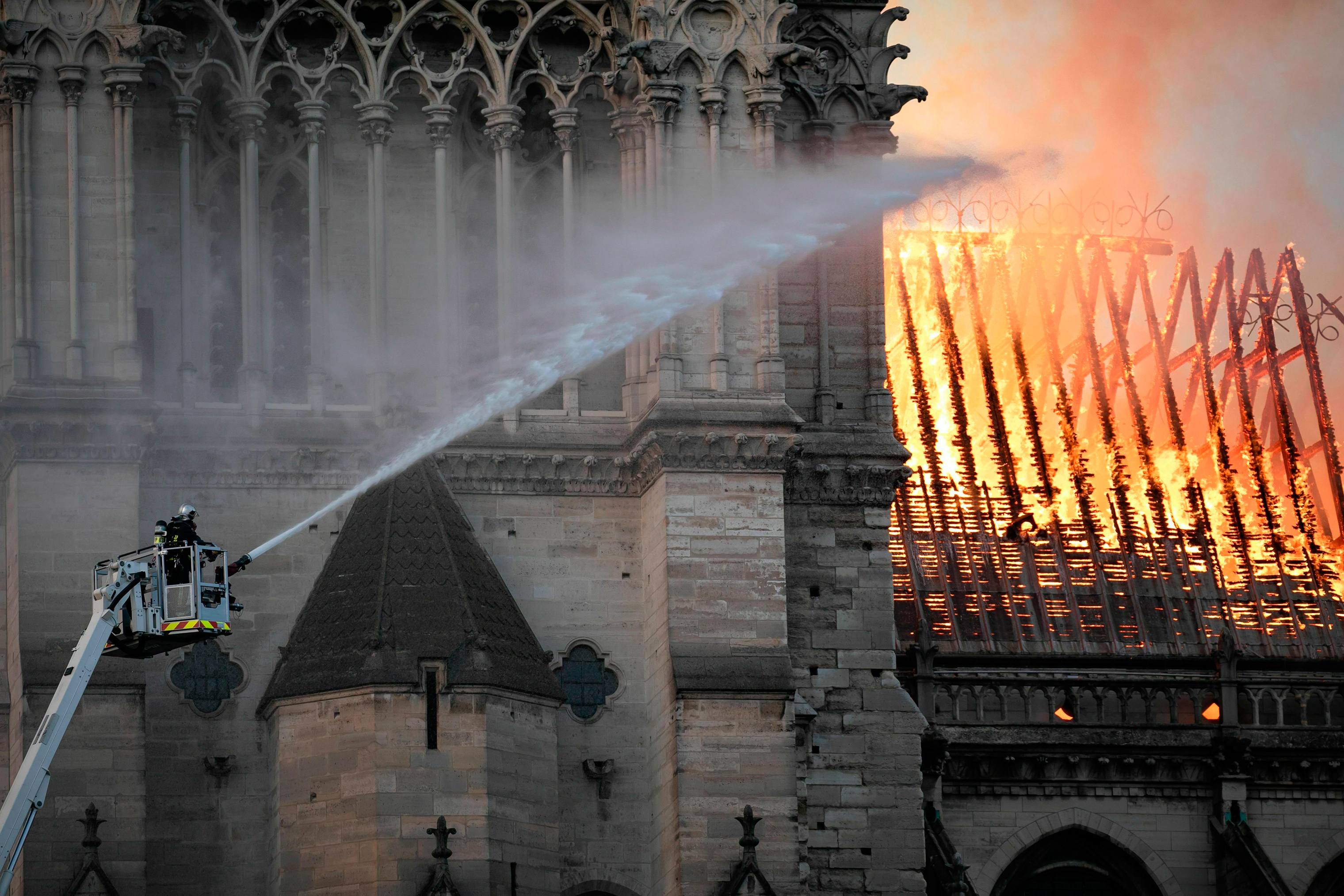 The Notre-Dame Cathedral in Paris on fire, April 15, 2019.