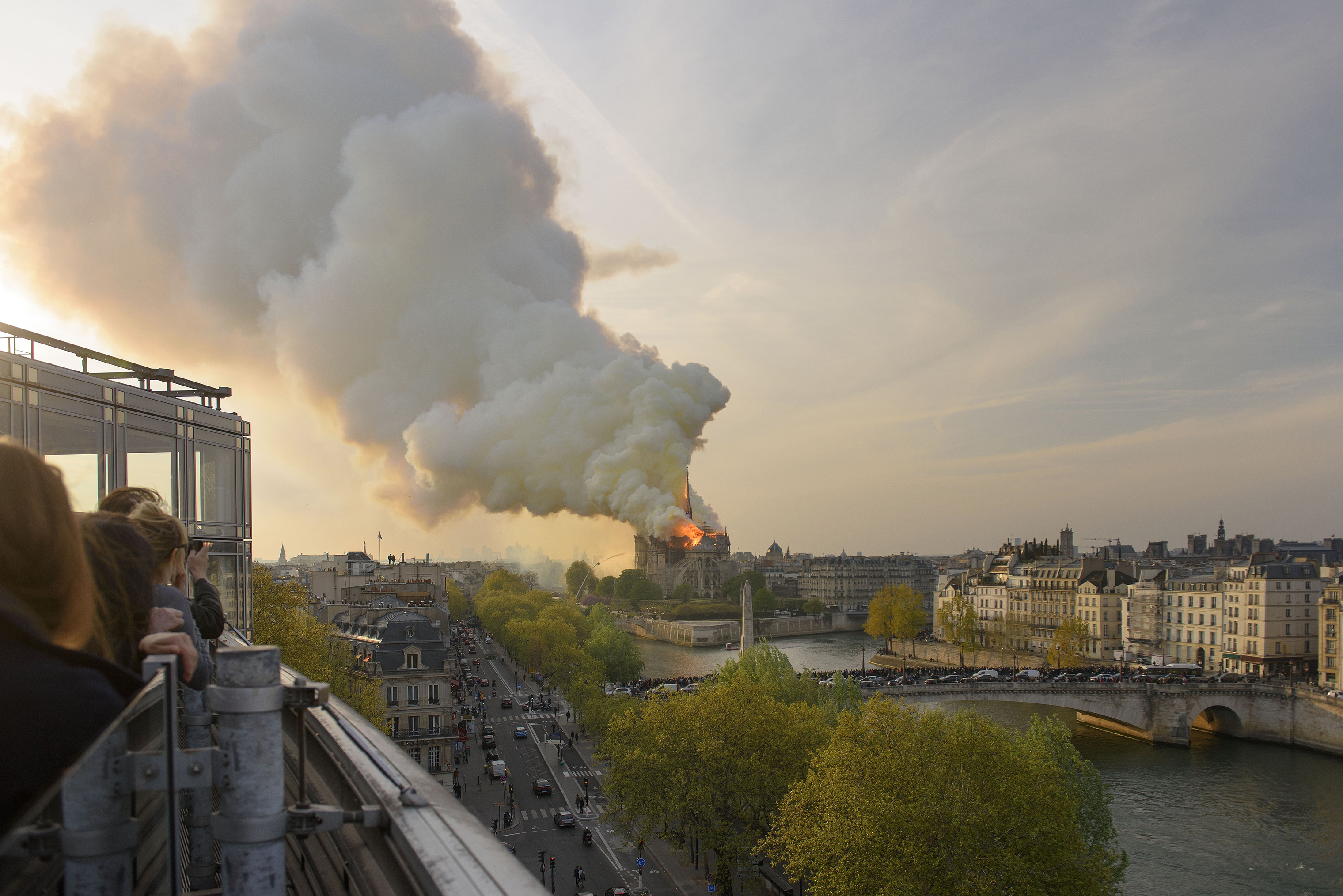 Fire enveloped Notre Dame Cathedra in Paris.