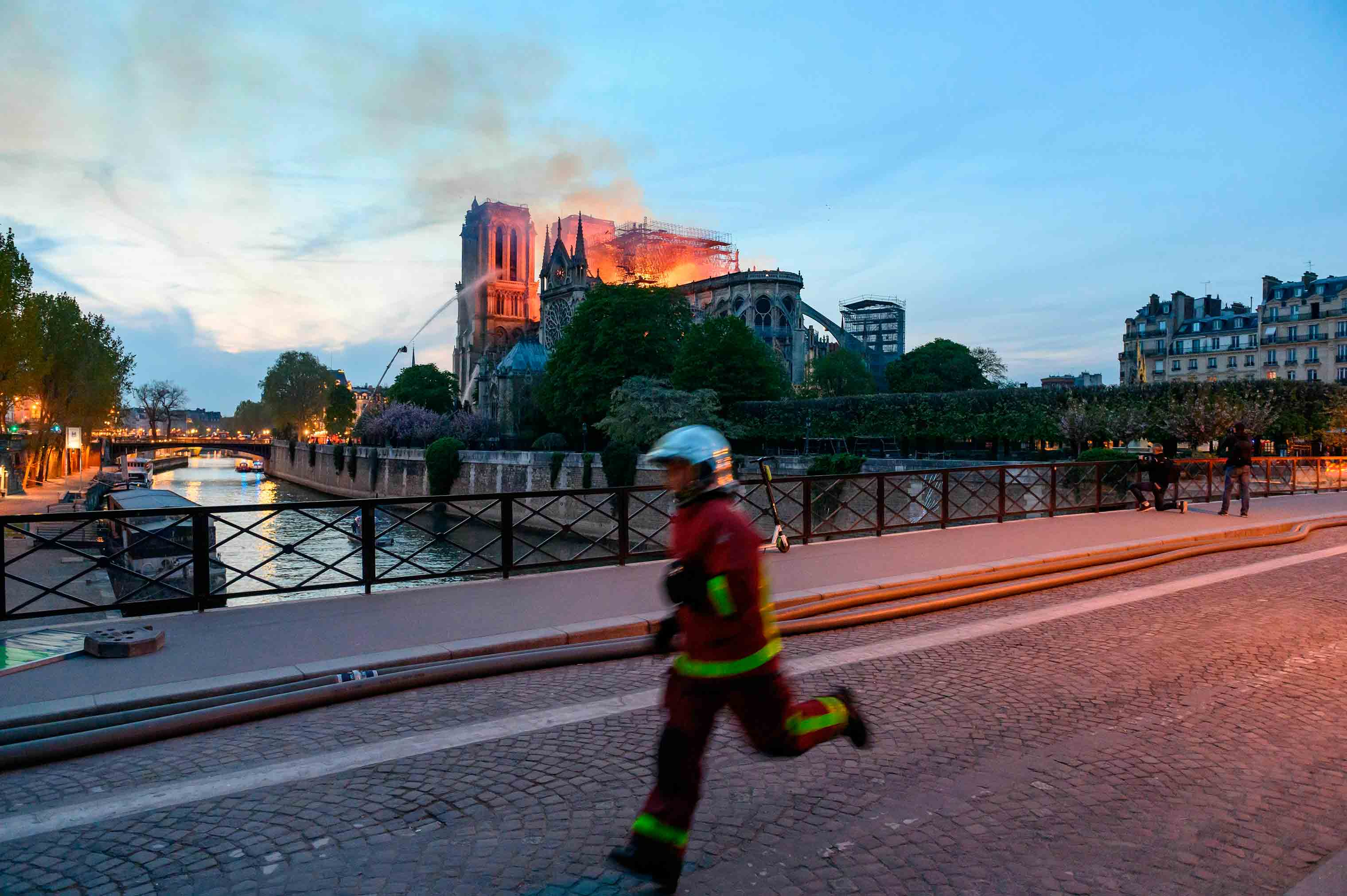 The Cathedral of Notre-Dame Cathedral on fire, Paris, April 15, 2019.