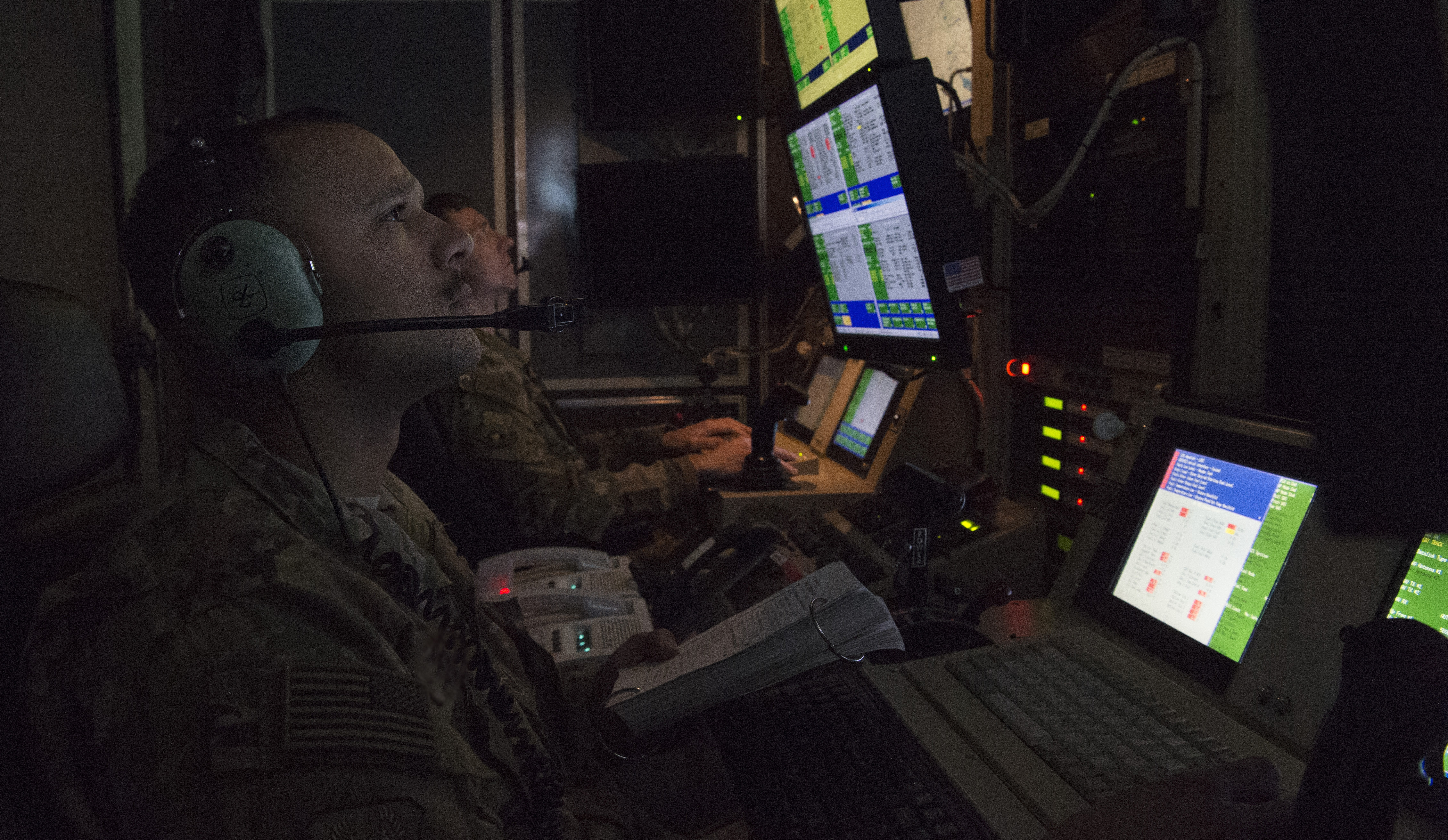Capt. Derrick, 46th Expeditionary Attack Squadron pilot, and Staff Sgt. Marcus, 46th EATKS MQ-9 sensor operator, check aircraft system operations during preflight of an MQ-9 Reaper at an undisclosed location in Southwest Asia, Feb. 21, 2019.