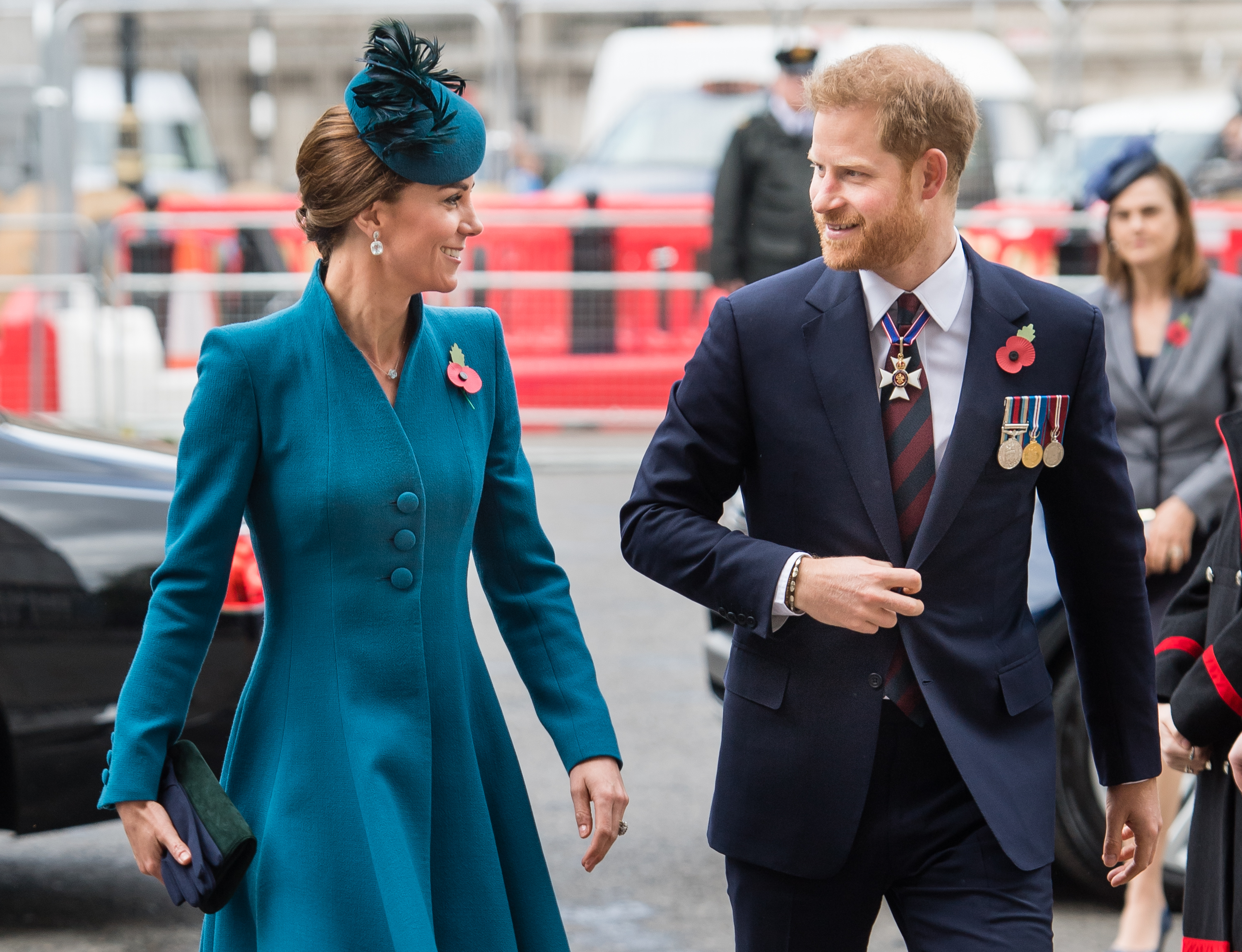 LONDON, ENGLAND - APRIL 25: Catherine, Duchess of Cambridge and Prince Harry, Duke of Sussex  attend the ANZAC Day Service of Commemoration and Thanksgiving at Westminster Abbey on April 25, 2019 in London, United Kingdom. (Photo by Samir Hussein/Samir Hussein/WireImage)