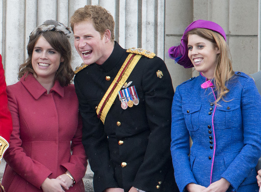 Princess Beatrice, Prince Harry and Princess Eugenie during Trooping The Colour in London on June 16, 2012.