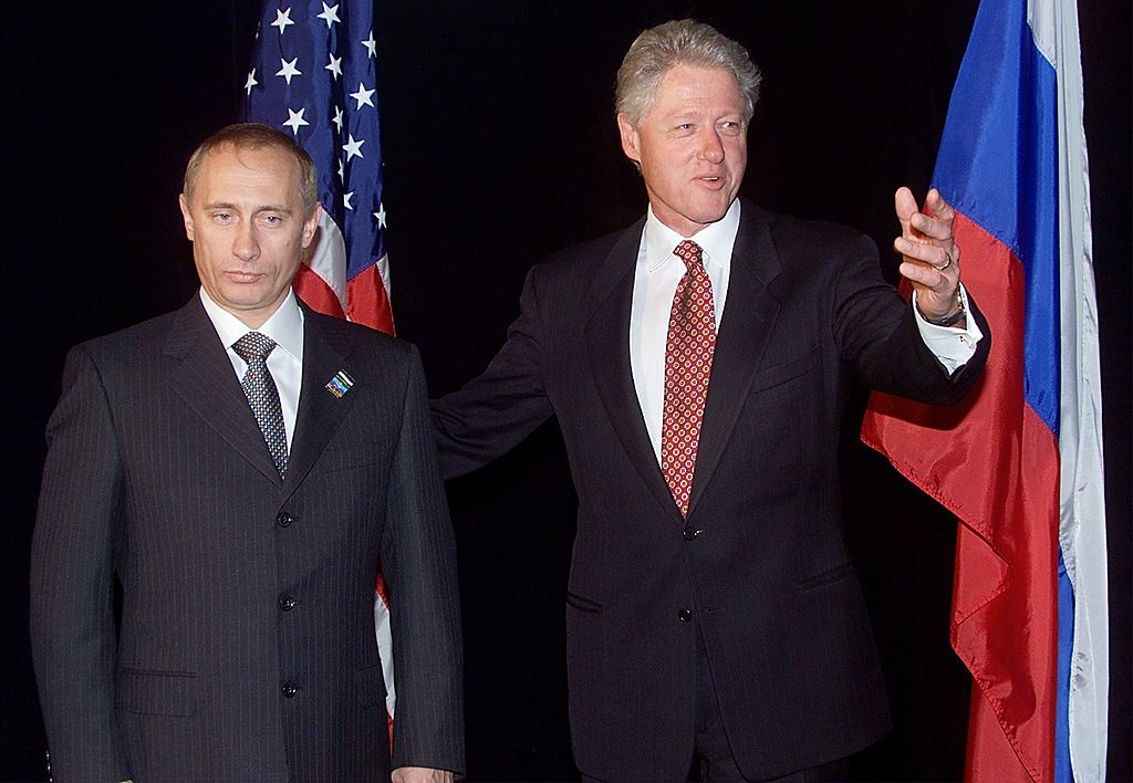 U.S. President Bill Clinton and then Prime Minister Vladimir Putin in Auckland, New Zealand 12 September 1999  during the Asia Pacific Economic Cooperation (APEC) meeting.