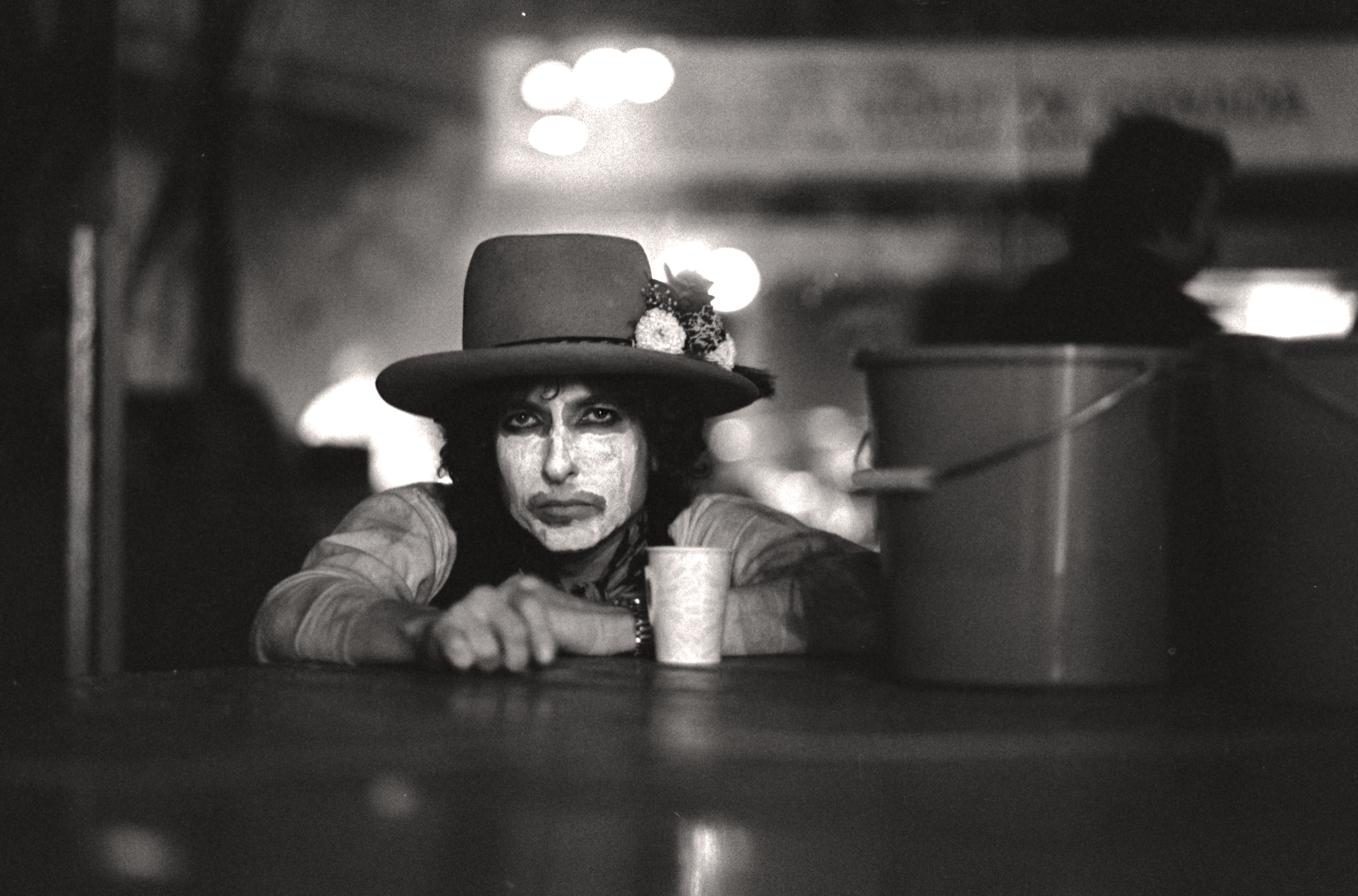 Bob Dylan in a still from the documentary Rolling Thunder Revue: A Bob Dylan Story by Martin Scorsese.