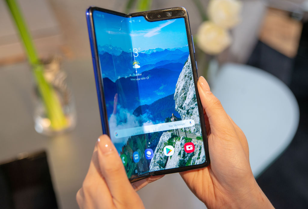 A production model of the Samsung Galaxy Fold Tablet smartphone can be seen at a presentation.