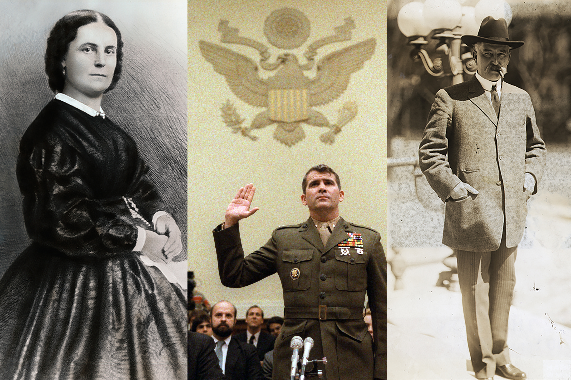 L to R: Illustration of Peggy Eaton, undated;  Lieutenant-Colonel Oliver North is sworn in on Dec. 9, 1986, before the House Foreign Affairs Committee hearing in Washington, D.C., on arms sales to Iran; Albert B. Fall, Secretary of Interior in Harding administration, destroyed politically by the Teapot Dome scandal, c. 1910s