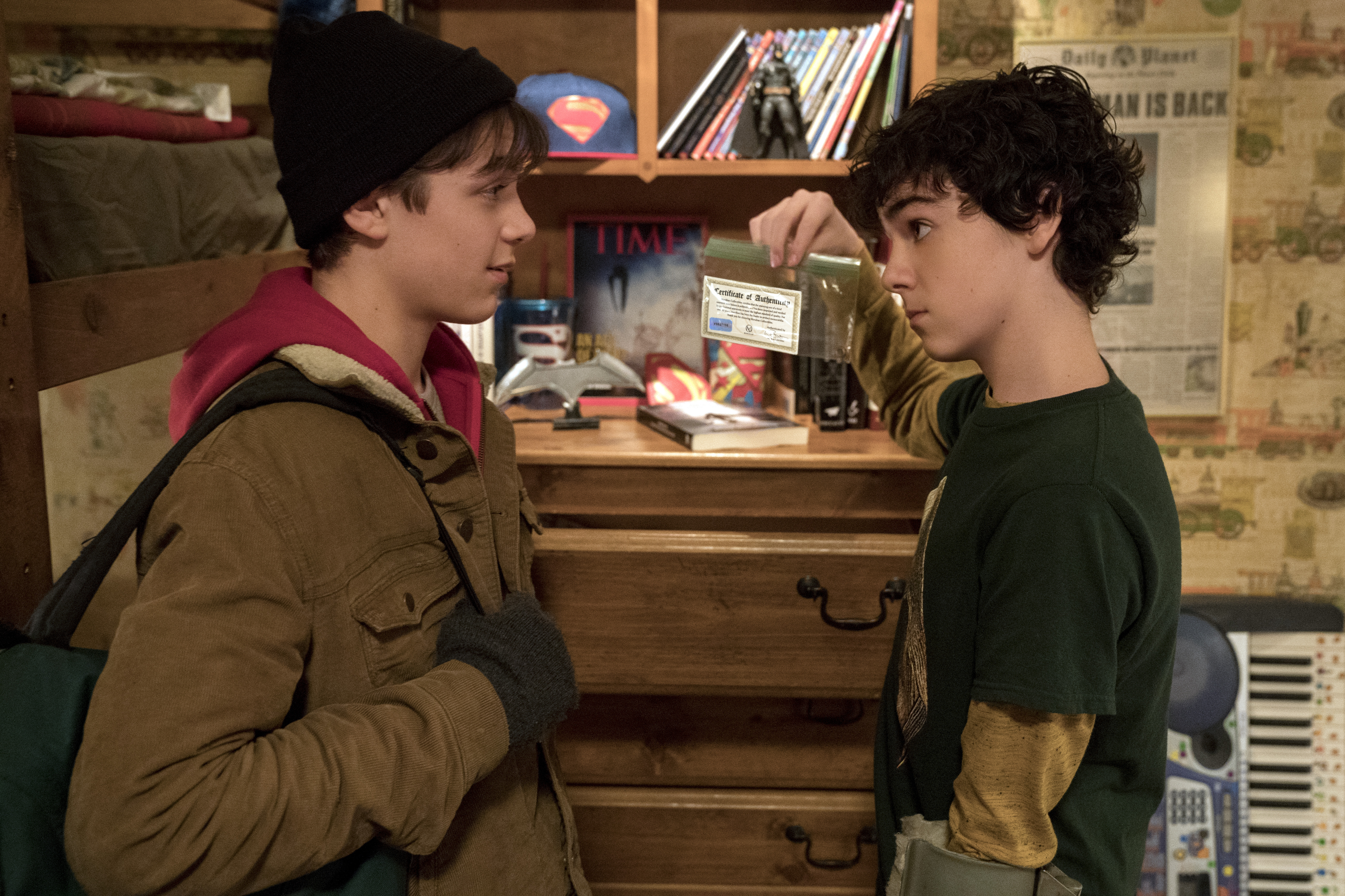 Asher Angel as Billy Batson and Jack Dylan Grazer as Freddy Freeman in Shazam!
