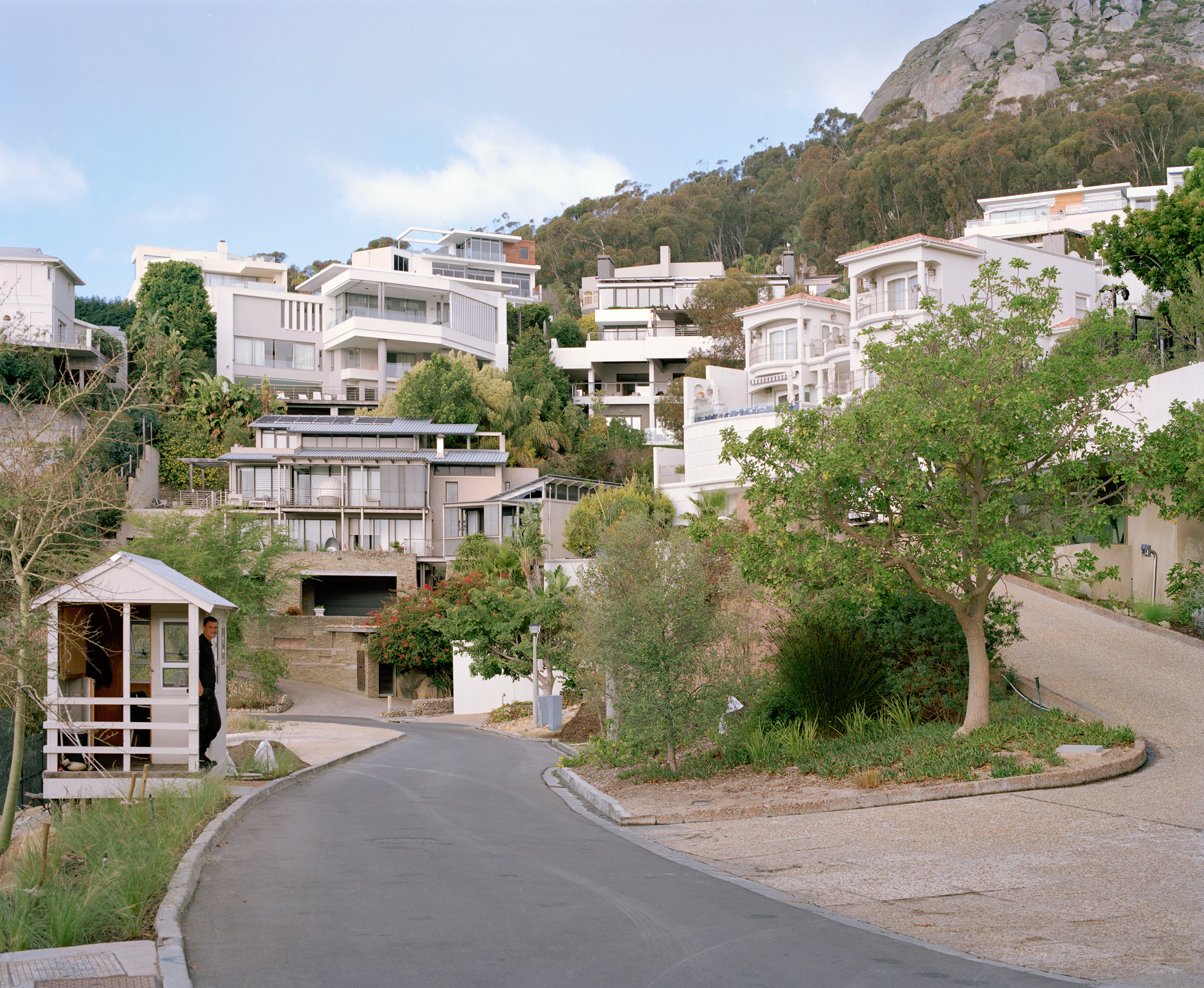Bantry Bay, an affluent suburb of Cape Town, overlooks a rocky coastline.