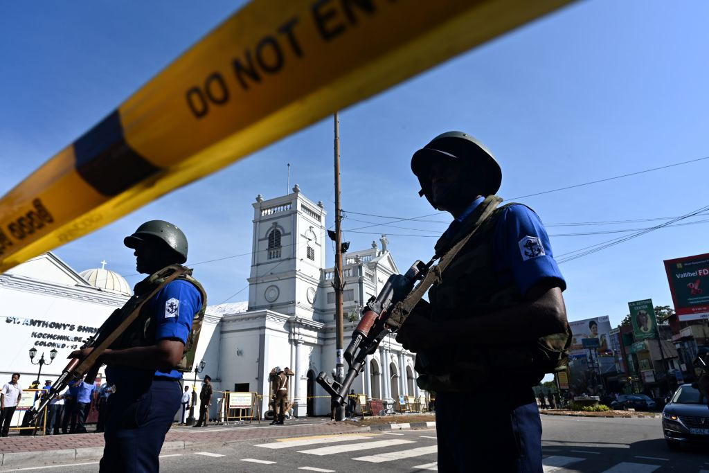 Security personnel stand guard outside St. Anthony's Shrine in Colombo, Sri Lanka on April 22, 2019.