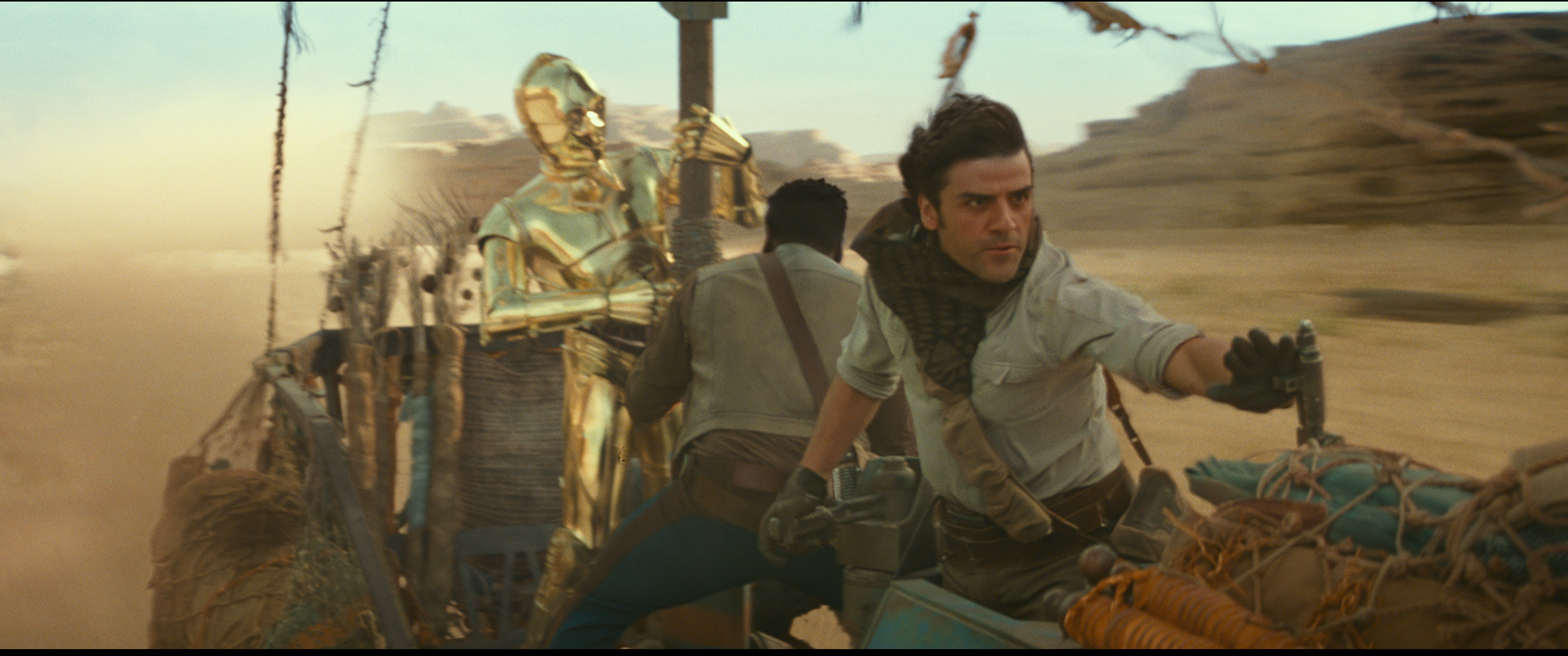 C3PO (Anthony Daniels), Finn (John Boyega) and Poe Dameron (Oscar Isaac) in STAR WARS:  EPISODE IX.