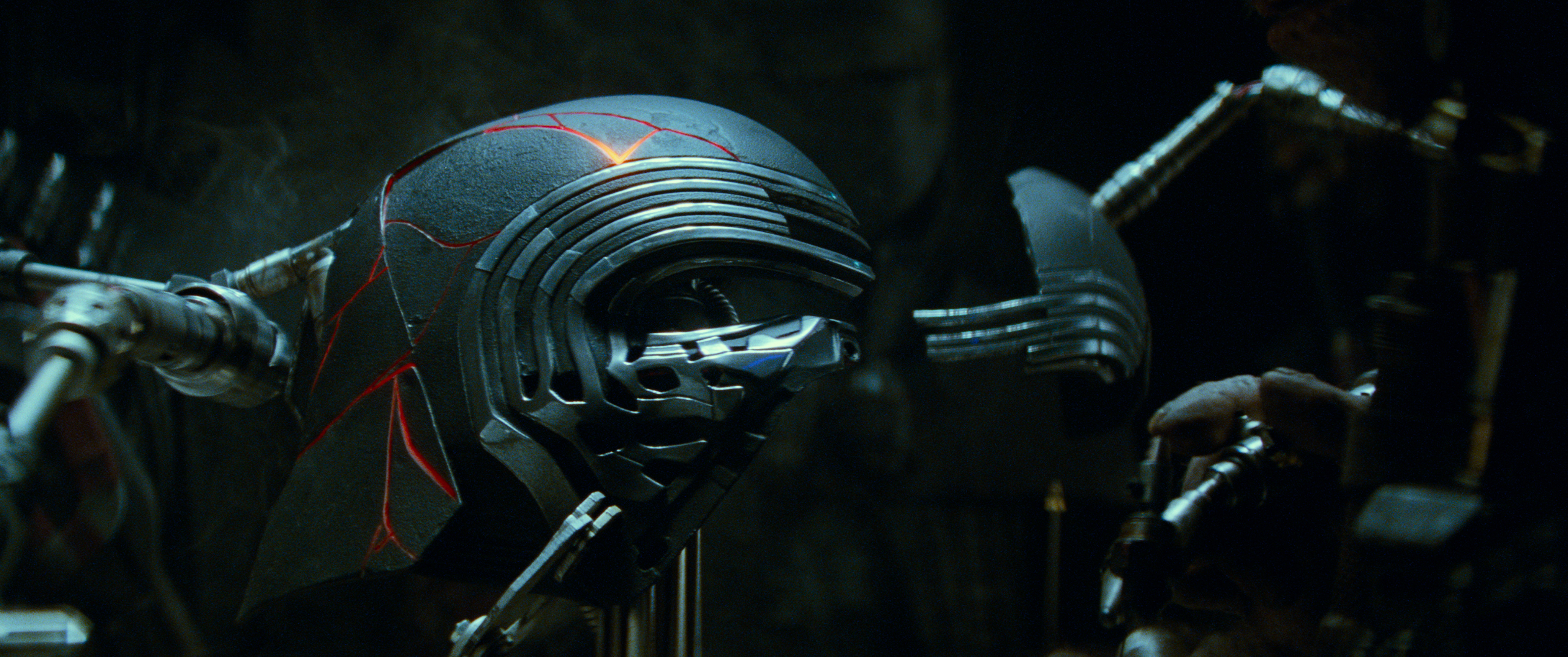 Kylo Ren's restored helmet in STAR WARS: THE RISE OF SKYWALKER.