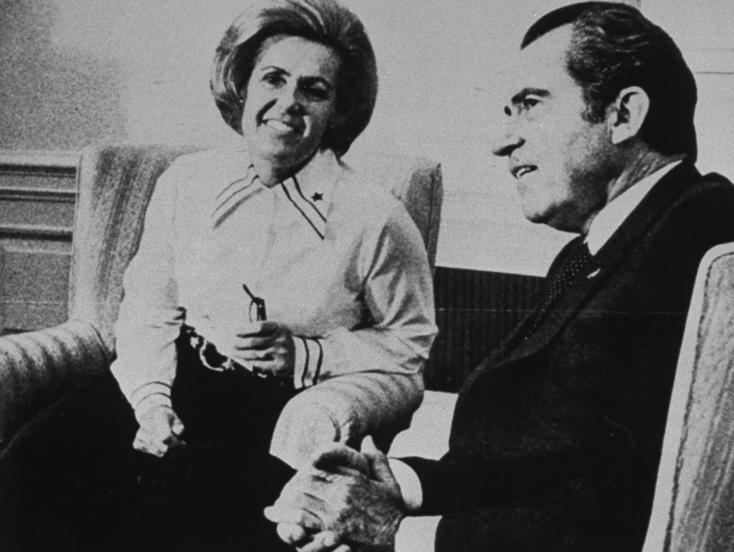 Photo of Sybil, wife of James Bond Stockdale, founder of National League of Families of American Prisoners and Missing in Southeast Asia, w. Richard Nixon in the late 1960s.