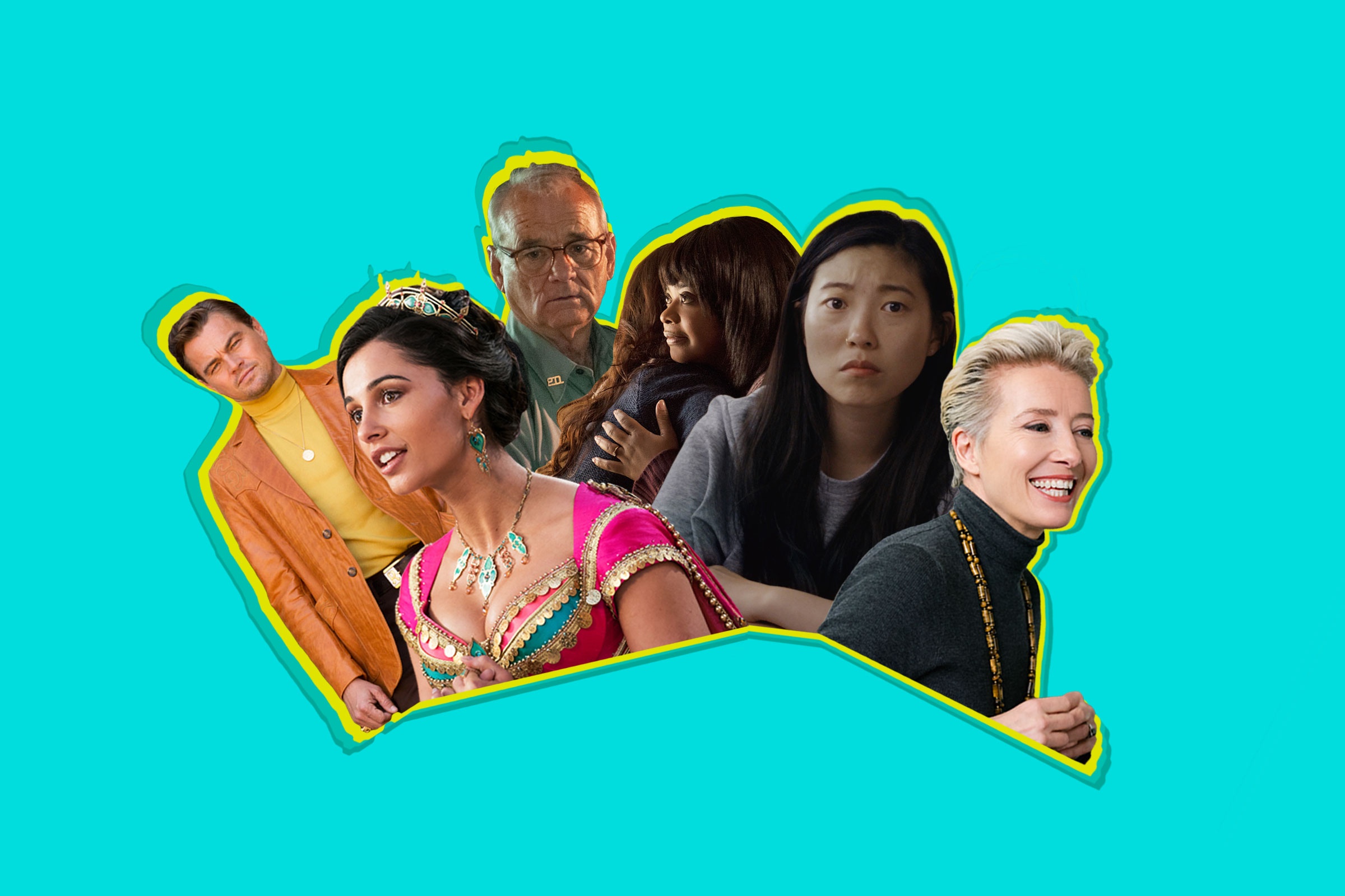 From left to right: Leonardo DiCaprio in Once Upon a Time in Hollywood; Naomi Scott in Aladdin; Bill Murray in The Dead Don't Die; Octavia Spencer in Ma; Awkwafina in The Farewell; Emma Thompson in Late Night.
