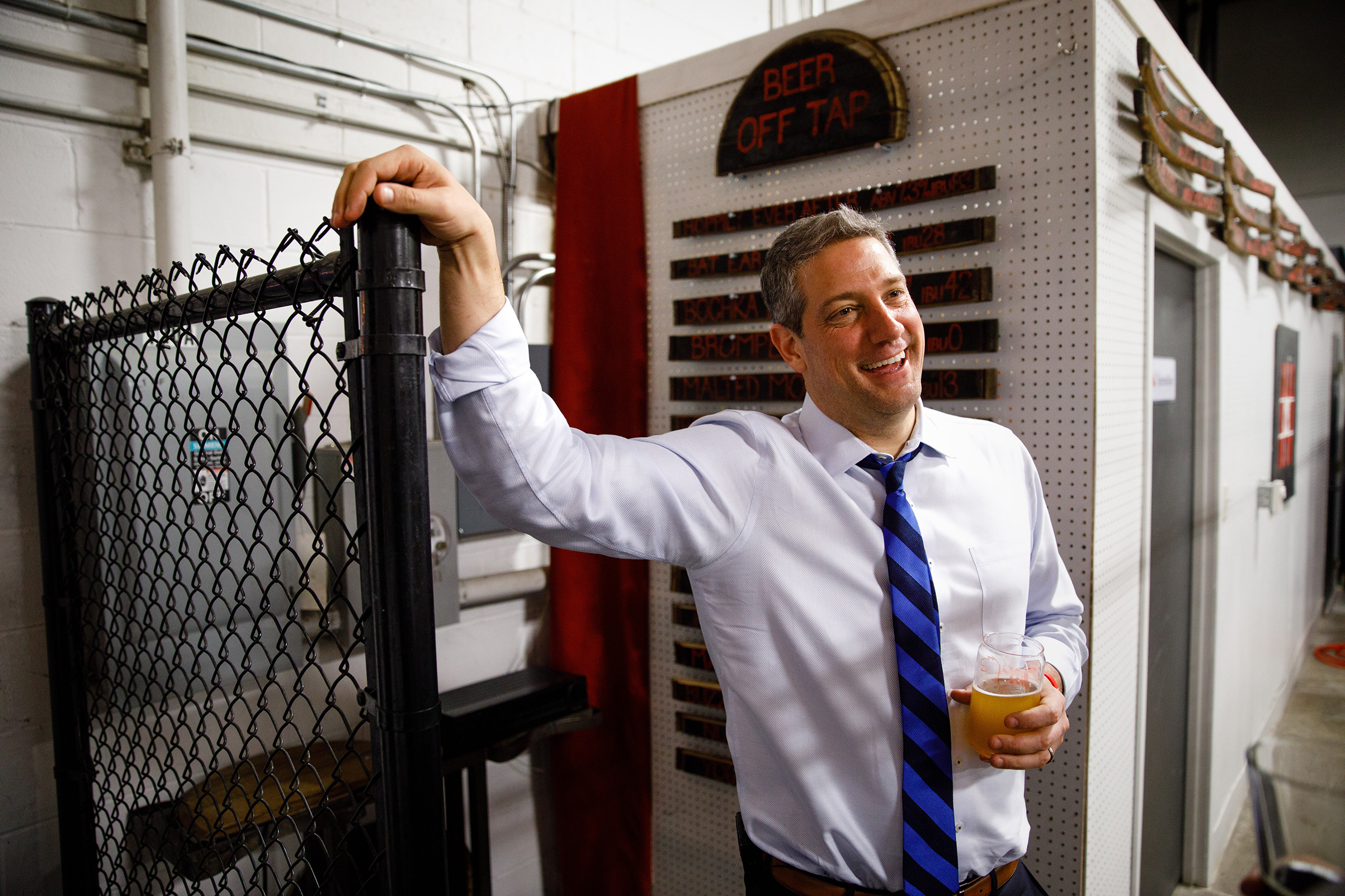 Democratic presidential candidate Tim Ryan after speaking to the Polk County Democrats during a campaign stop at Fox Brewing in West Des Moines, Iowa, April 7