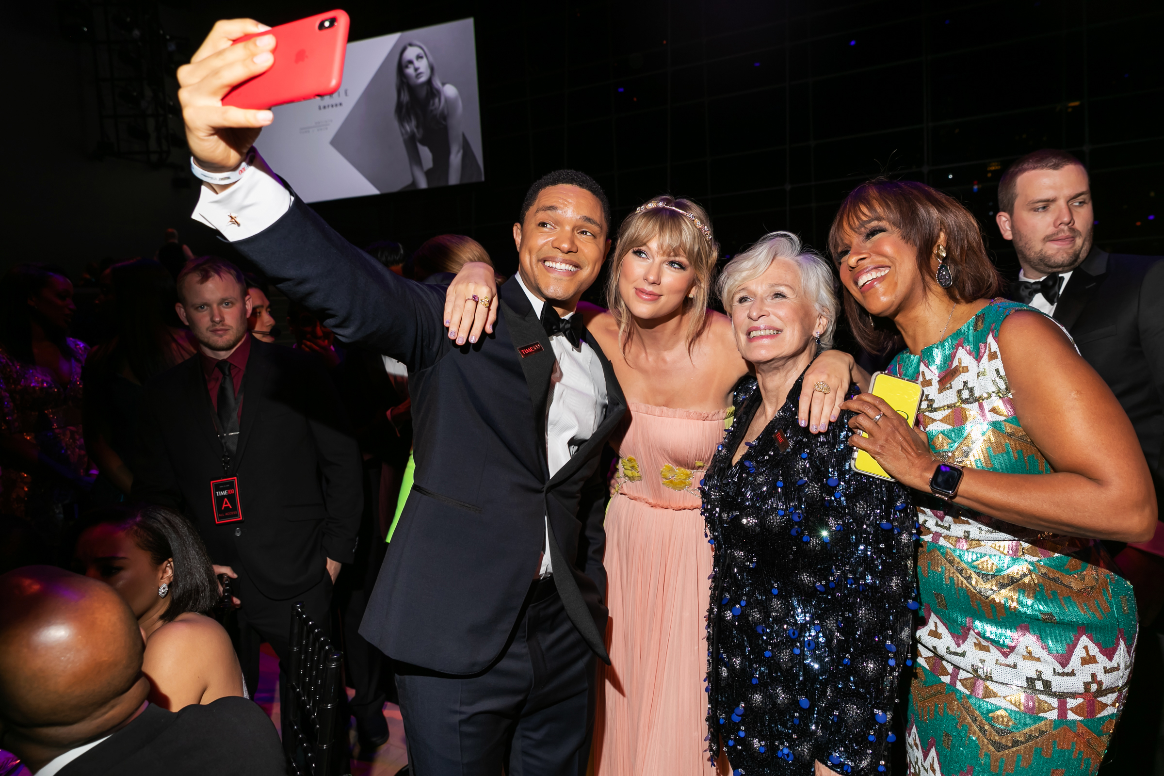 Trevor Noah, Taylor Swift, Glenn Close and Gayle King at the Time 100 Gala at Jazz at Lincoln Center in New York City on April 23, 2019.