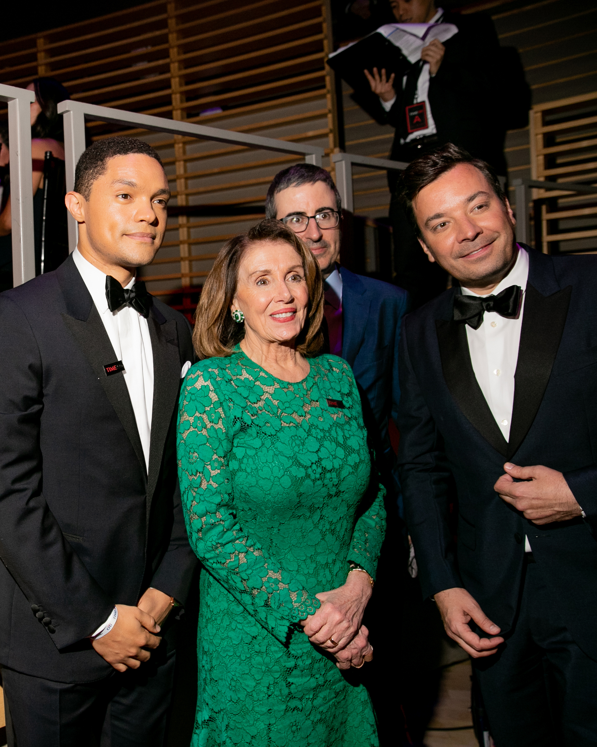 Trevor Noah, Nancy Pelosi, John Oliver and Jimmy Fallon at the Time 100 Gala at Jazz at Lincoln Center in New York City on April 23, 2019.