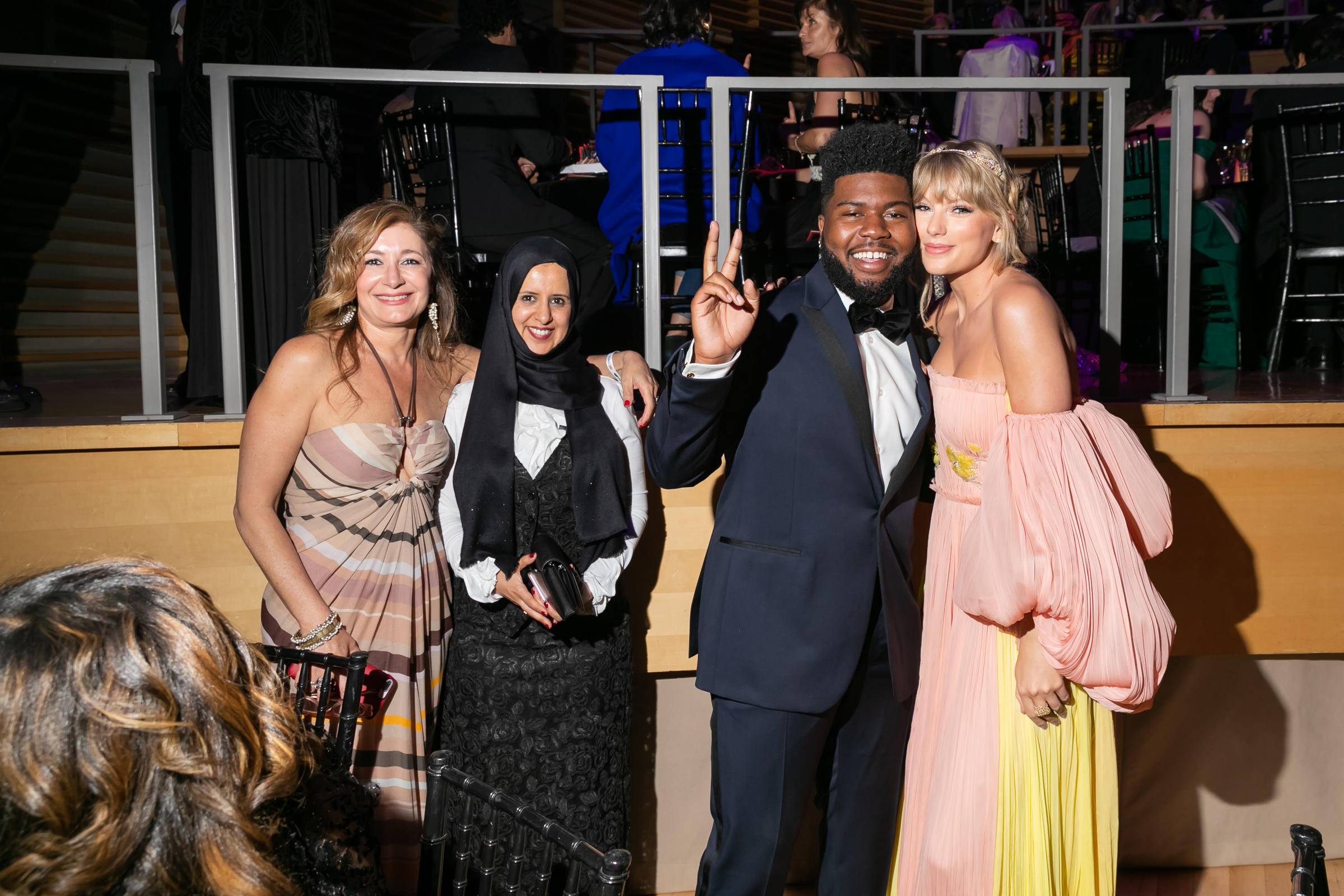 Sarah Leah Whitson, Radhya al-Mutawakel, Khalid and Taylor Swift at the Time 100 Gala at Jazz at Lincoln Center in New York City on April 23, 2019.