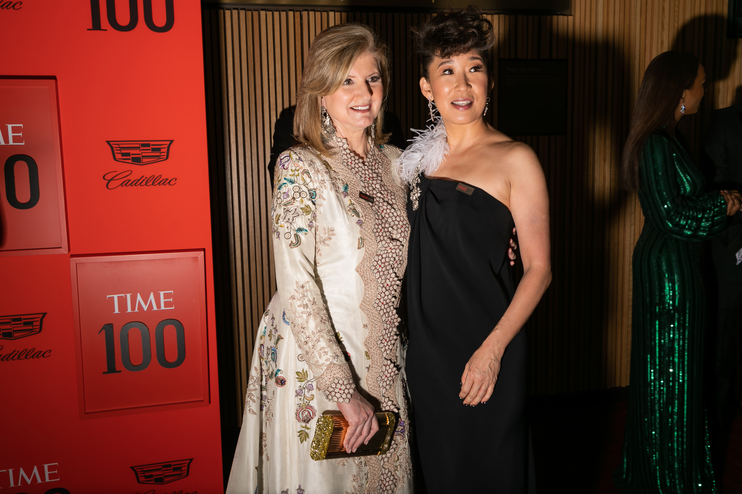 Arianna Huffington and Sandra Oh at the Time 100 Gala at Jazz at Lincoln Center in New York City on April 23, 2019.