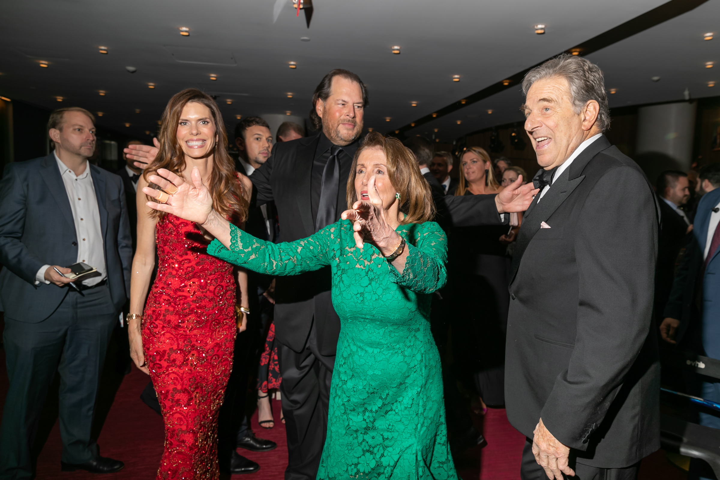 Lynne and Marc Benioff and Nancy Pelosi at the Time 100 Gala at Jazz at Lincoln Center in New York City on April 23, 2019.