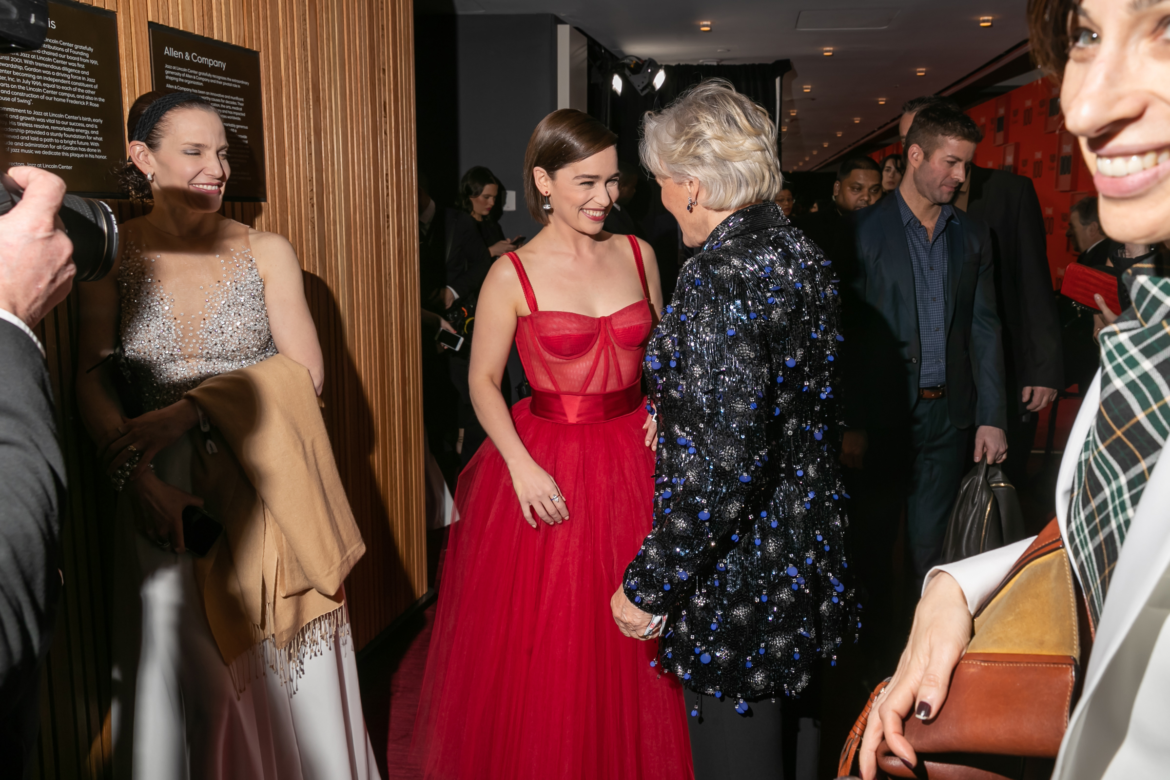 Emilia Clarke and Glenn Close at the Time 100 Gala at Jazz at Lincoln Center in New York City on April 23, 2019.