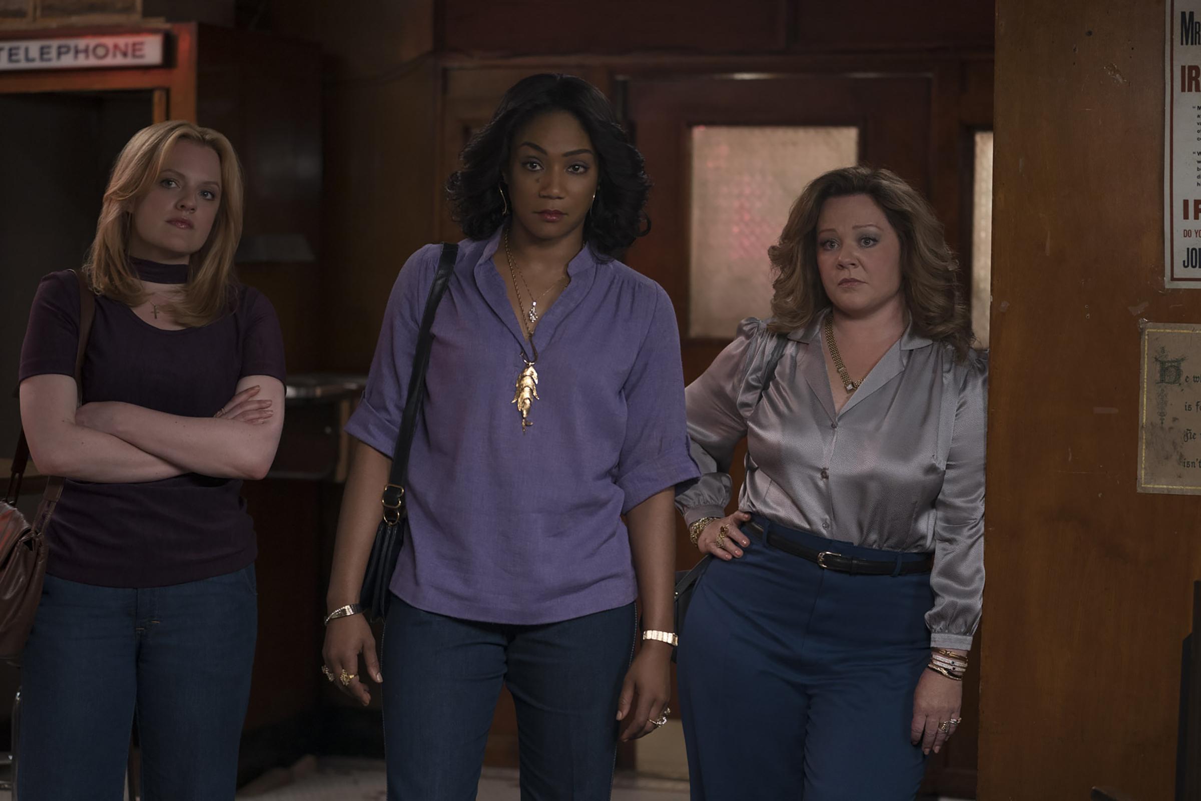 Elisabeth Moss, Melissa McCarthy and Tiffany Haddish in The Kitchen.