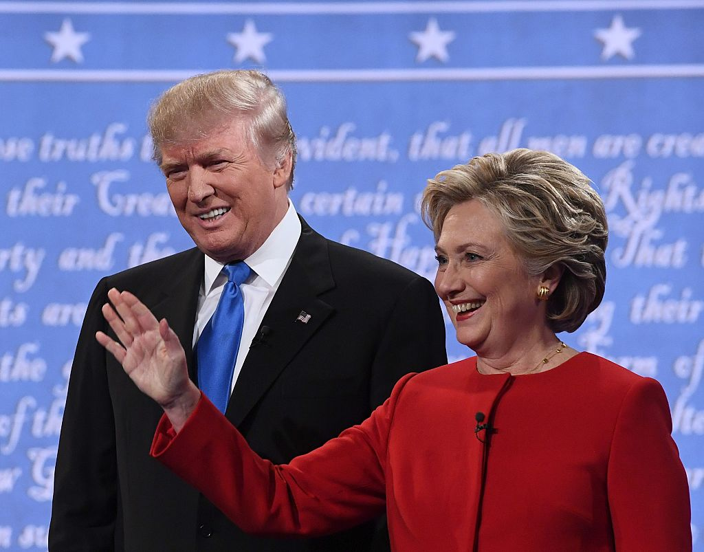 Donald Trump and Hillary Clinton arrive for the first presidential debate at Hofstra University in Hempstead, New York on Sept. 26, 2016.