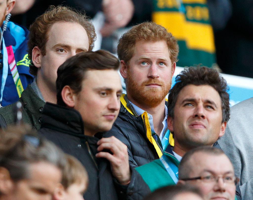 Tom Inskip, Charlie van Straubenzee, Prince Harry and Thomas van Straubenzee attend the 2015 Rugby World Cup Semi Final match between Argentina and Australia at Twickenham Stadium on October 25, 2015 in London, England.