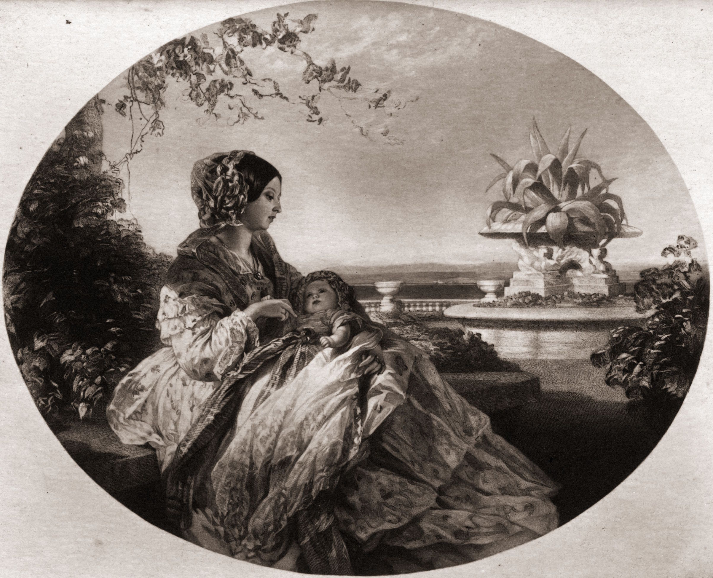 1852: Queen Victoria (1819 - 1901) with her third son Arthur William, Duke of Connaught (1850 - 1942), later Field Marshal Connaught. An engraving after Winterhalter.