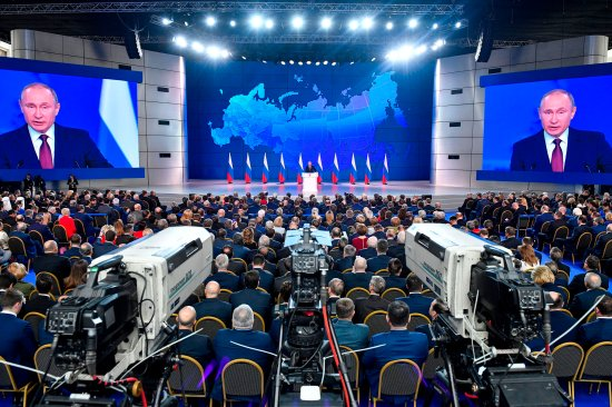 Russian President Vladimir Putin gives his state of the nation address in Moscow on Feb.20
