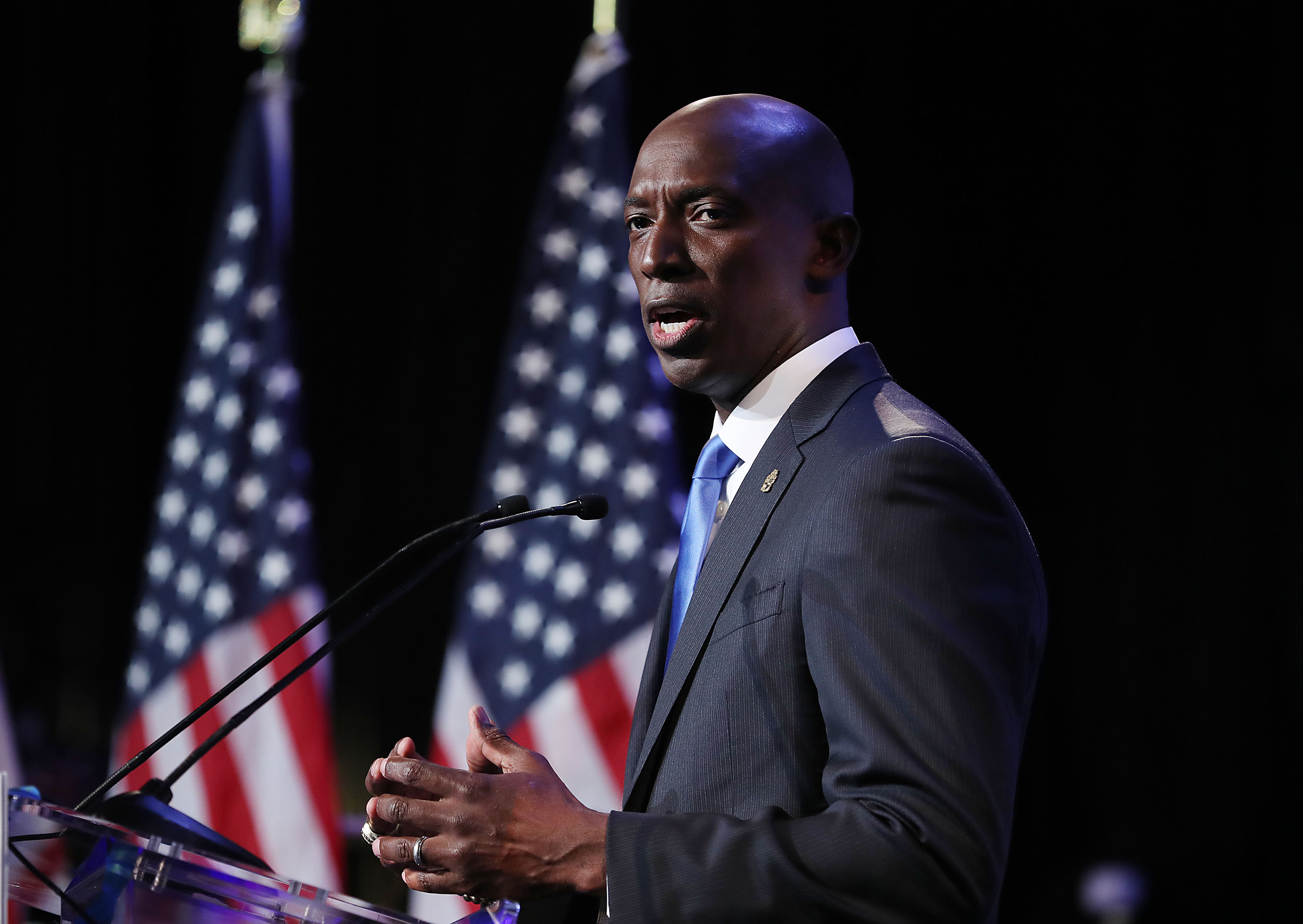 Miramar, Florida Mayor Wayne Messam speaks at a rally at Florida Memorial University in Miami Gardens, Florida. The Democrat mayor announced his candidacy for president at the rally.