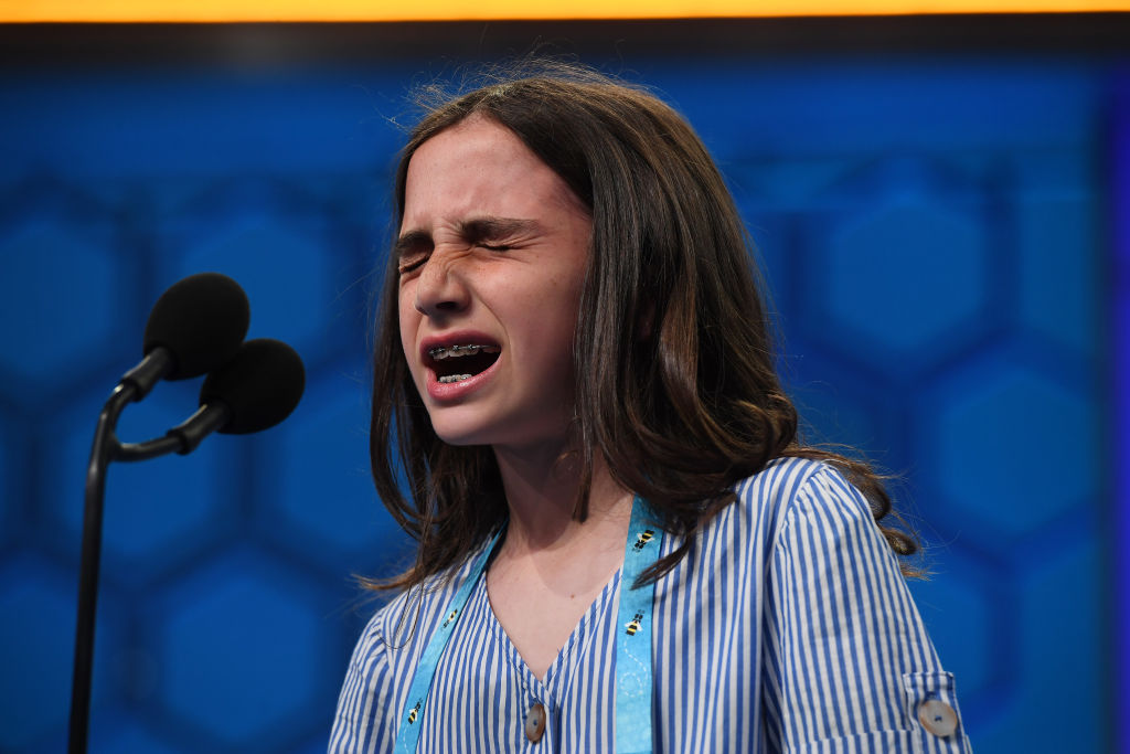 Caroline Kovacs, 10, of Hoboken, NJ concentrates as she spells a word during the Scripps National Spelling Bee at Gaylord National Resort and Convention Center on Wednesday May 29, 2019 in National Harbor, MD.