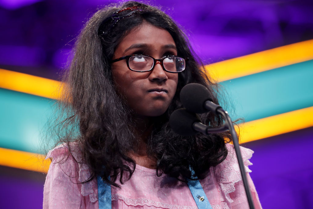 Nithika Rangan of Sacramento, California, correctly spells the word 'jonquil,' which is a type of flower, during the second round of the Scripps National Spelling Bee at the Gaylord National Resort & Convention Center May 28, 2019 in National Harbor, Maryland.